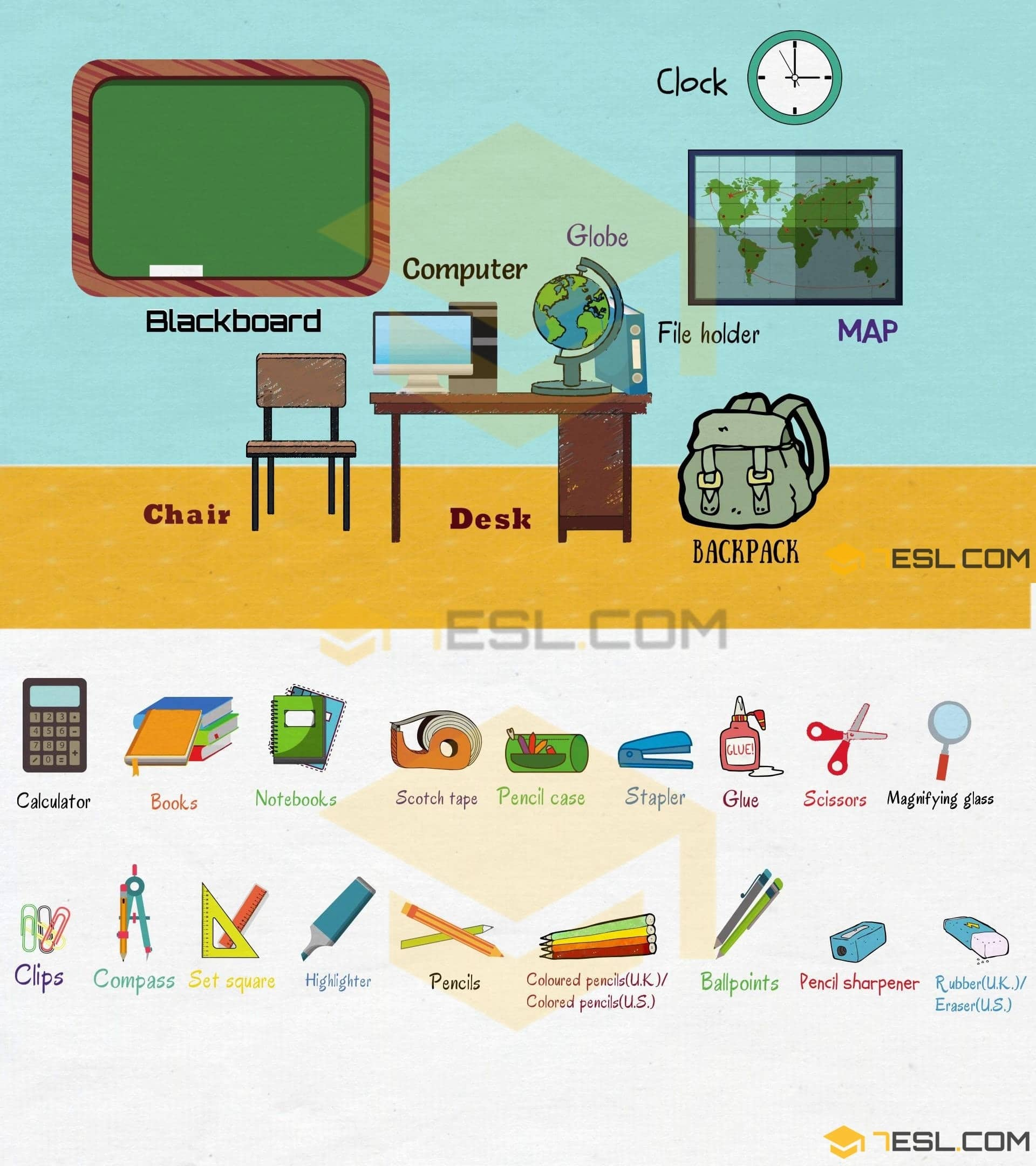 Classroom Objects in English | Classroom Vocabulary
