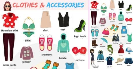 Clothes and Accessories Vocabulary with Pictures 256