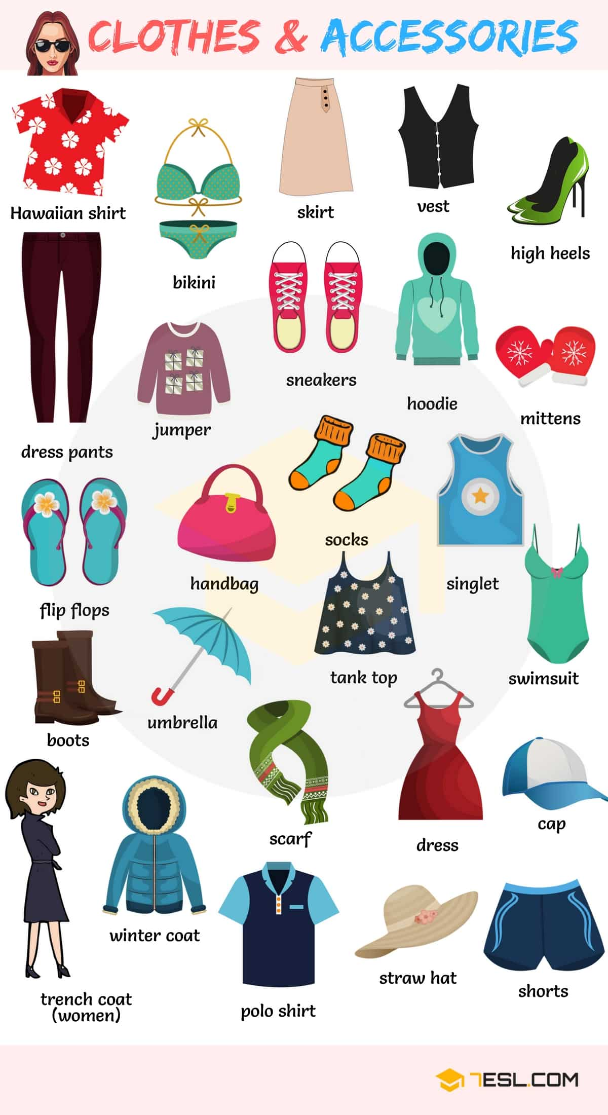 English Vocabulary For Clothing Clothes And Accessories 7 E S L
