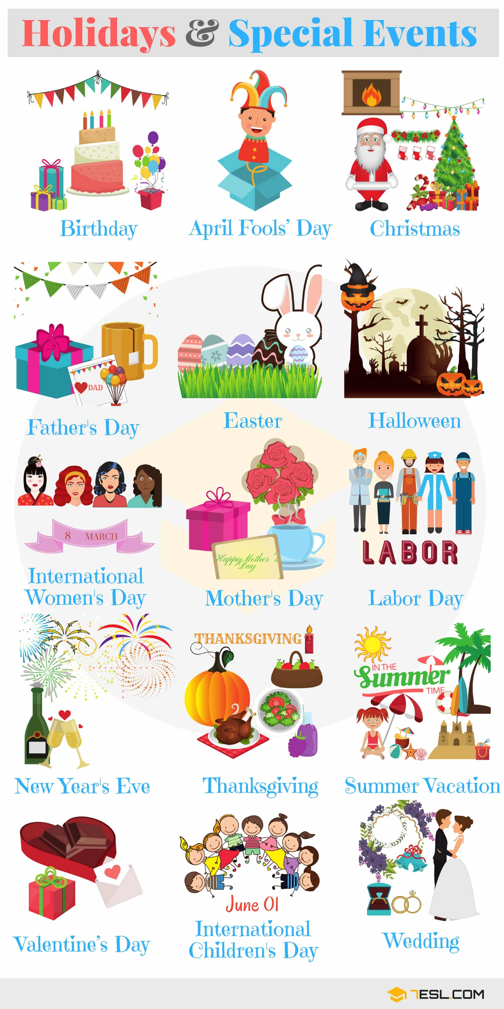 List of Holidays: Holiday Vocabulary Words in English