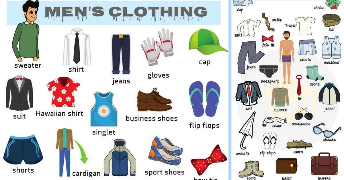Men's Clothing Vocabulary: Names of Clothes with Pictures 1