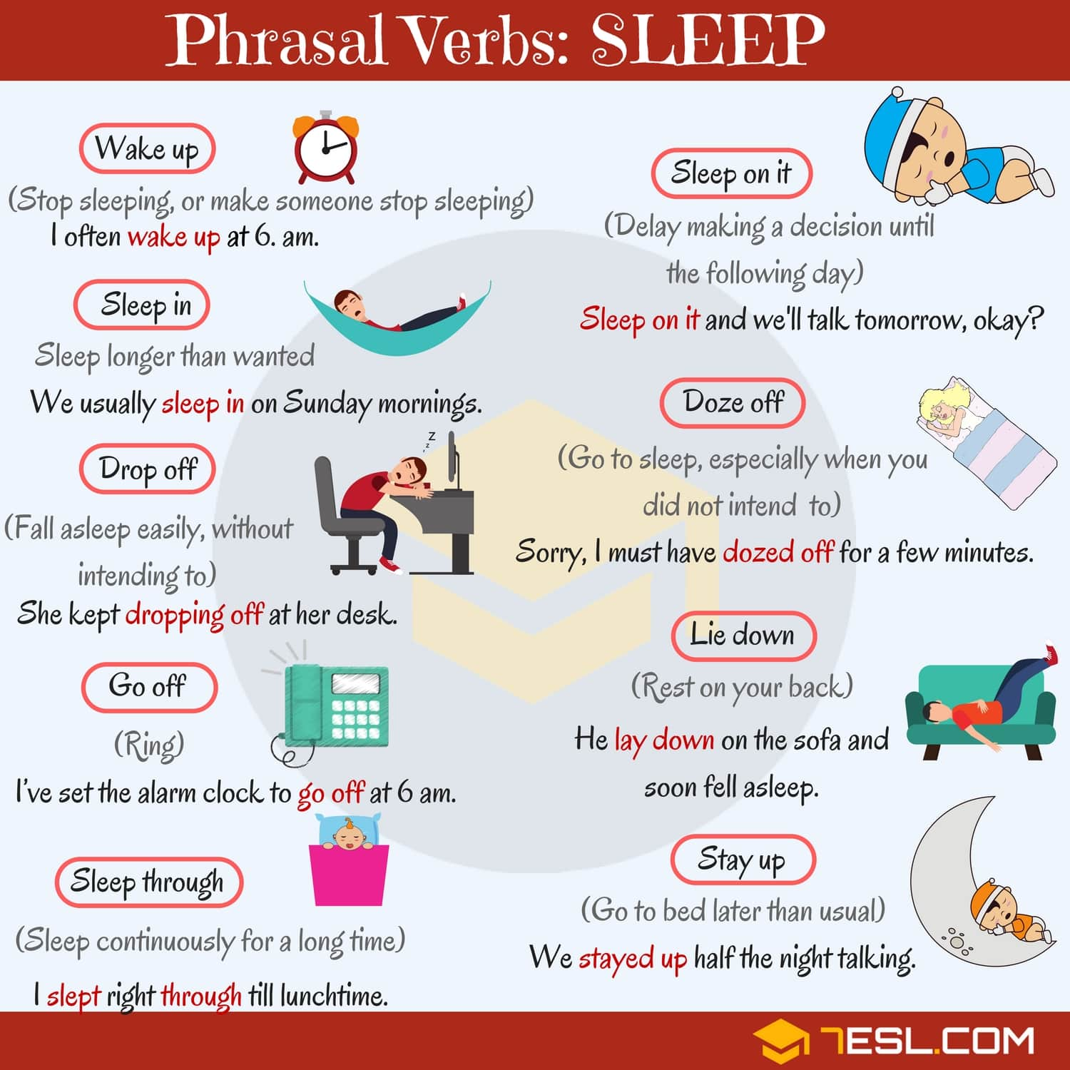 SLEEP Vocabulary: 12 Common Sleep Phrasal Verbs