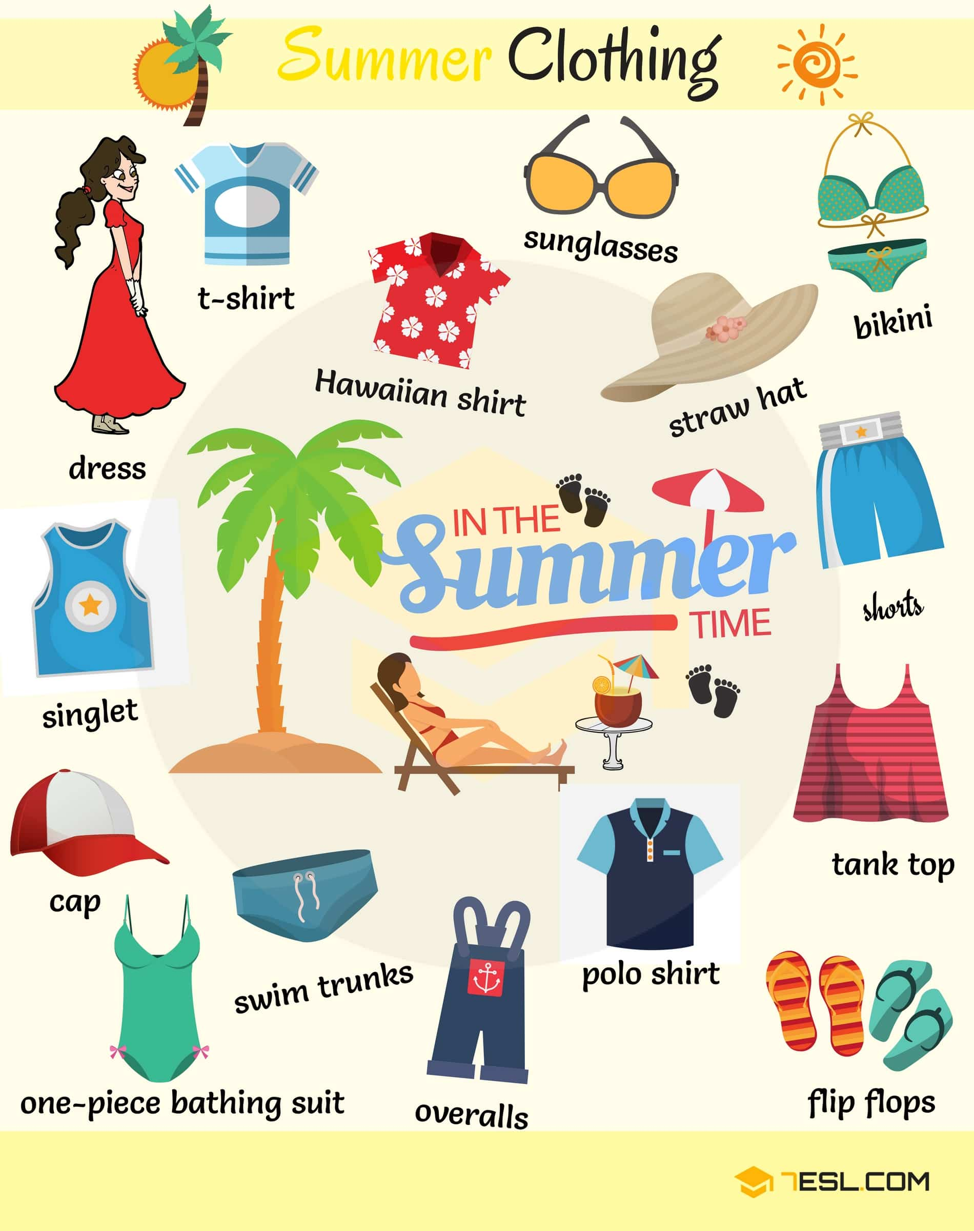 Summer Clothes and Accessories! Learn useful list of Summer clothes names with ESL pictures and examples to increase your vocabulary words about clothes.