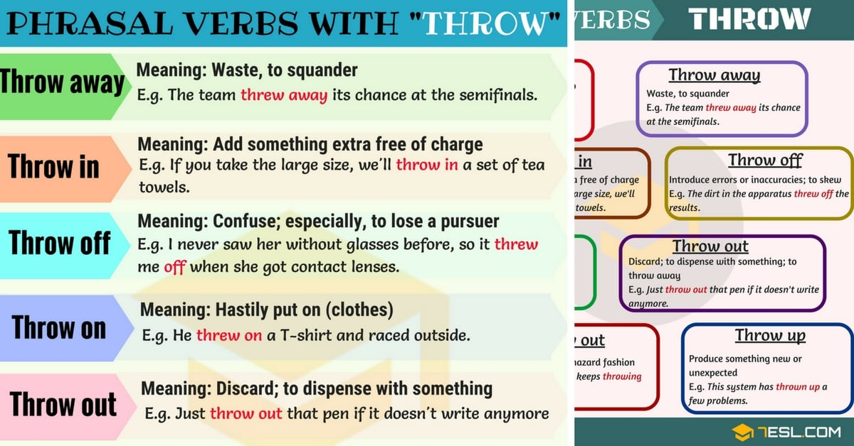 14 Phrasal Verbs with THROW: Throw away, Throw out, Throw up... 1