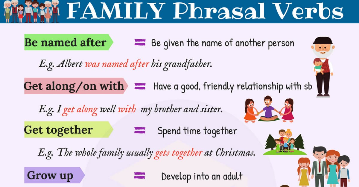 Family Vocabulary: 18 FAMILY Phrasal Verbs in English 1