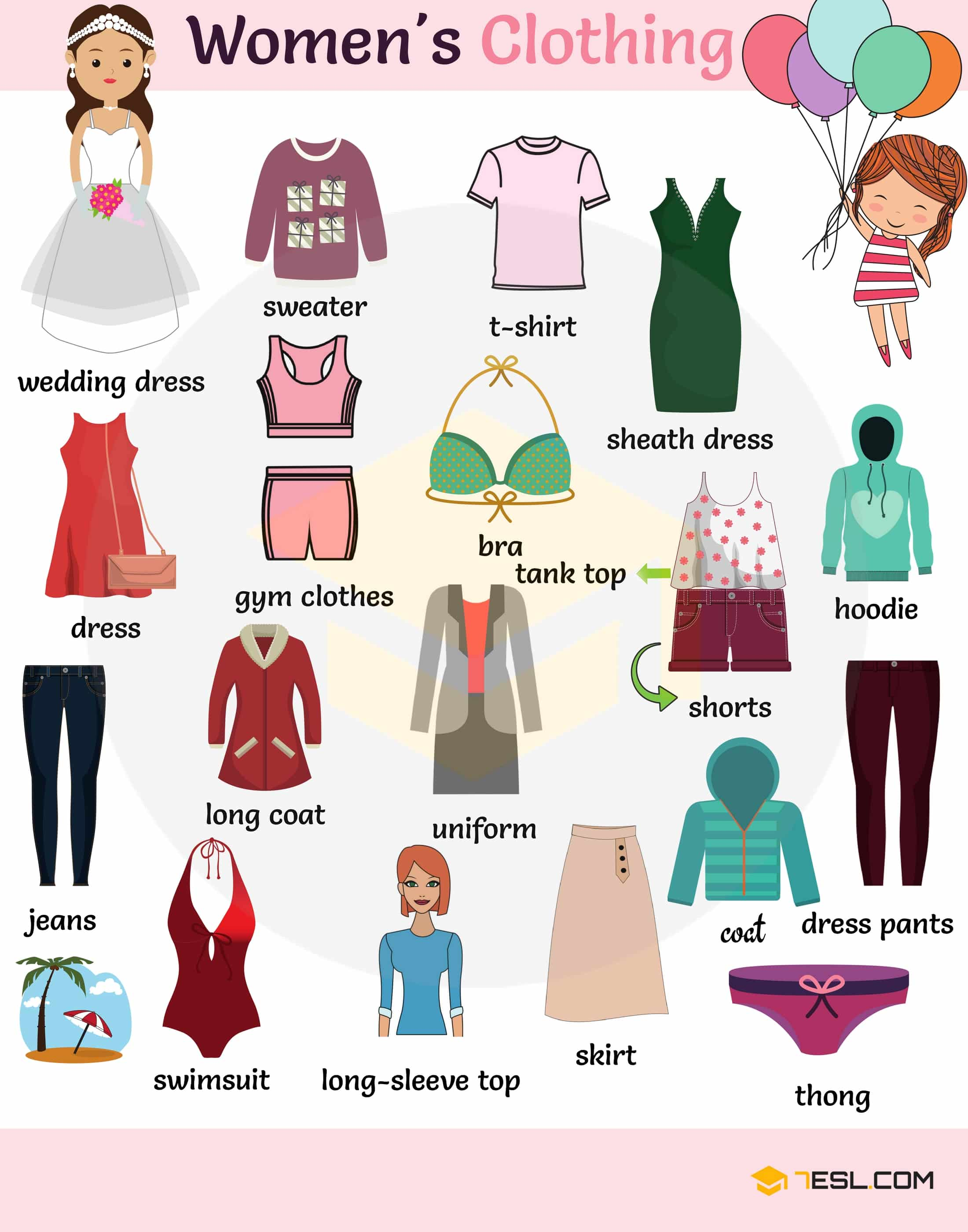 All The Girls Standing In The Line For The Bathroom: Clothes Vocabulary: Learn Clothes Name With Pictures