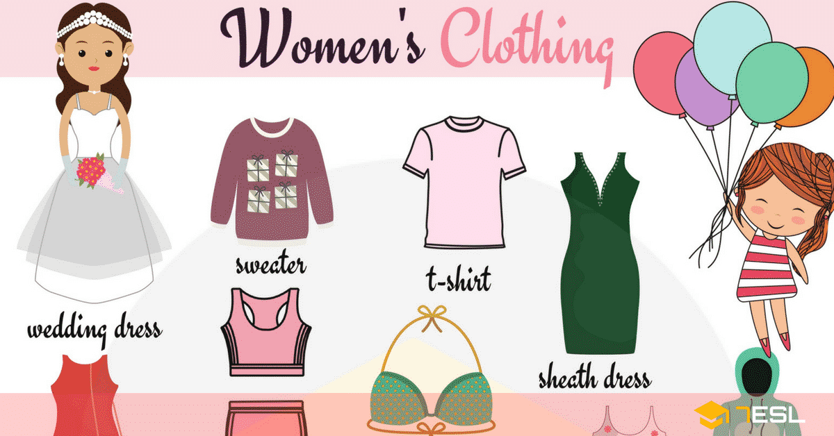 Summer clothes vocabulary in english