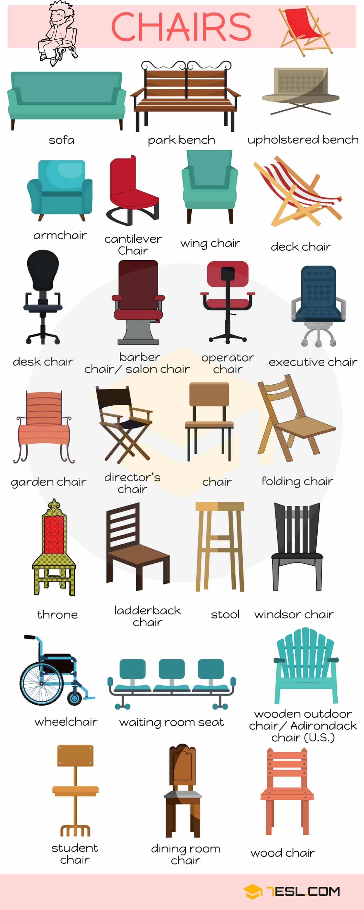 Chairs Vocabulary in English | Image