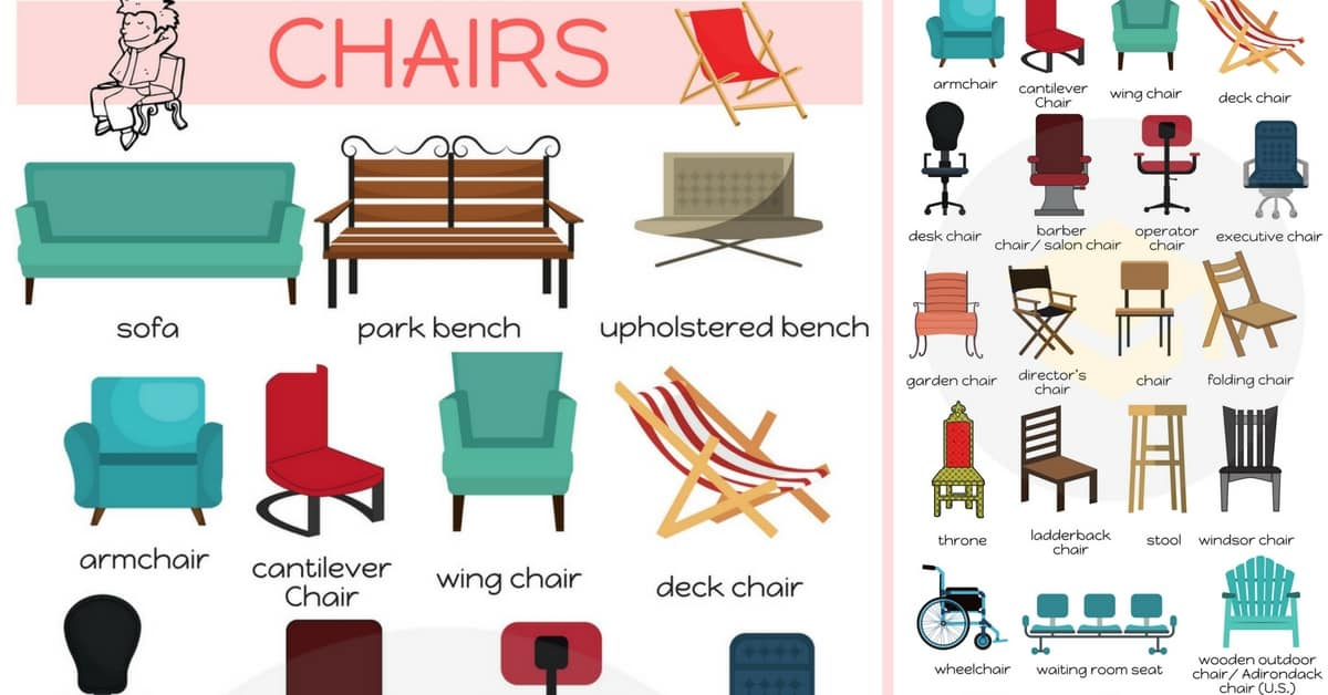 Chairs Vocabulary In English Names Of Chairs 7 E S L