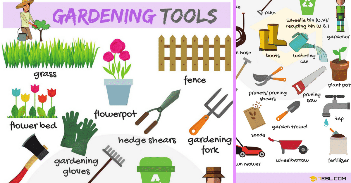 Gardening tools vocabulary in english in the garden for Gardening tools names 94