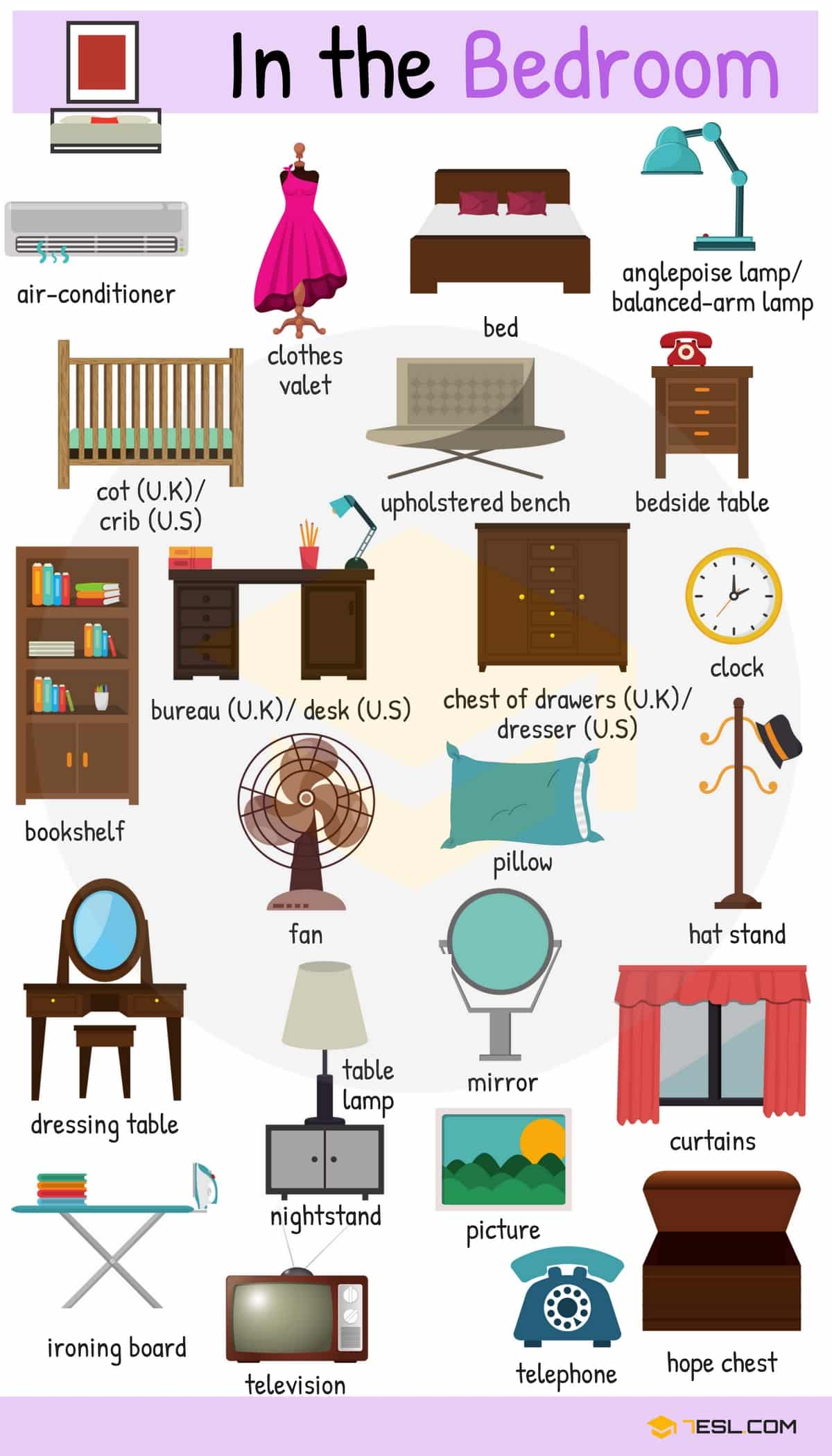 Video bedroom vocabulary in english esl buzz for Interior design vocabulary