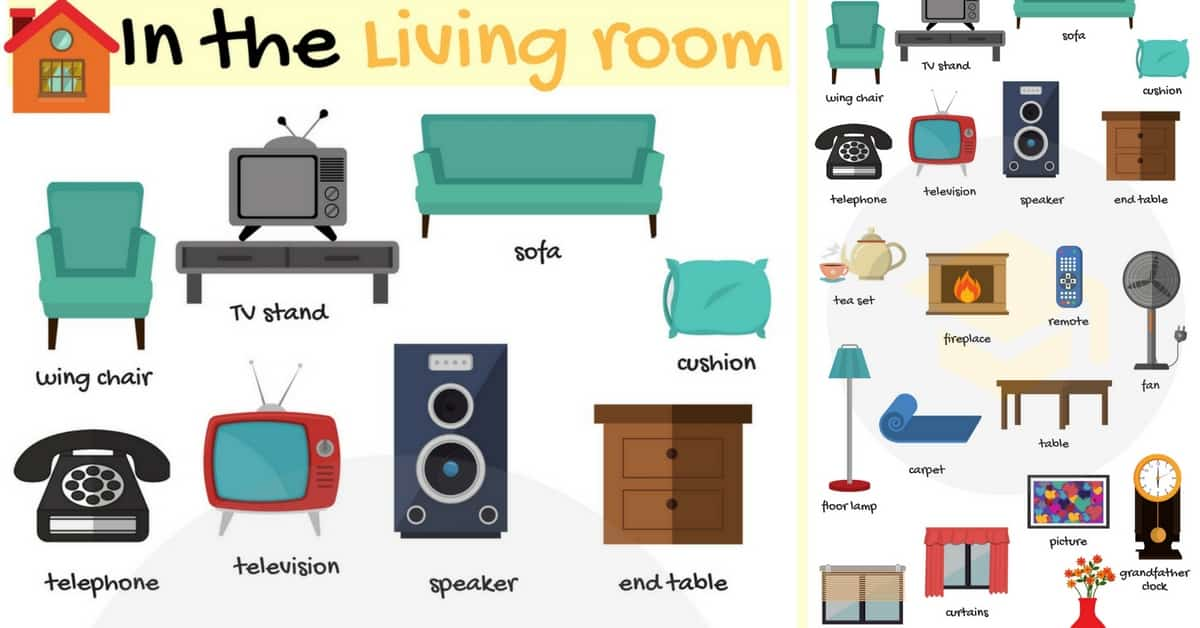 In The Living Room Vocabulary Names Of Living Room
