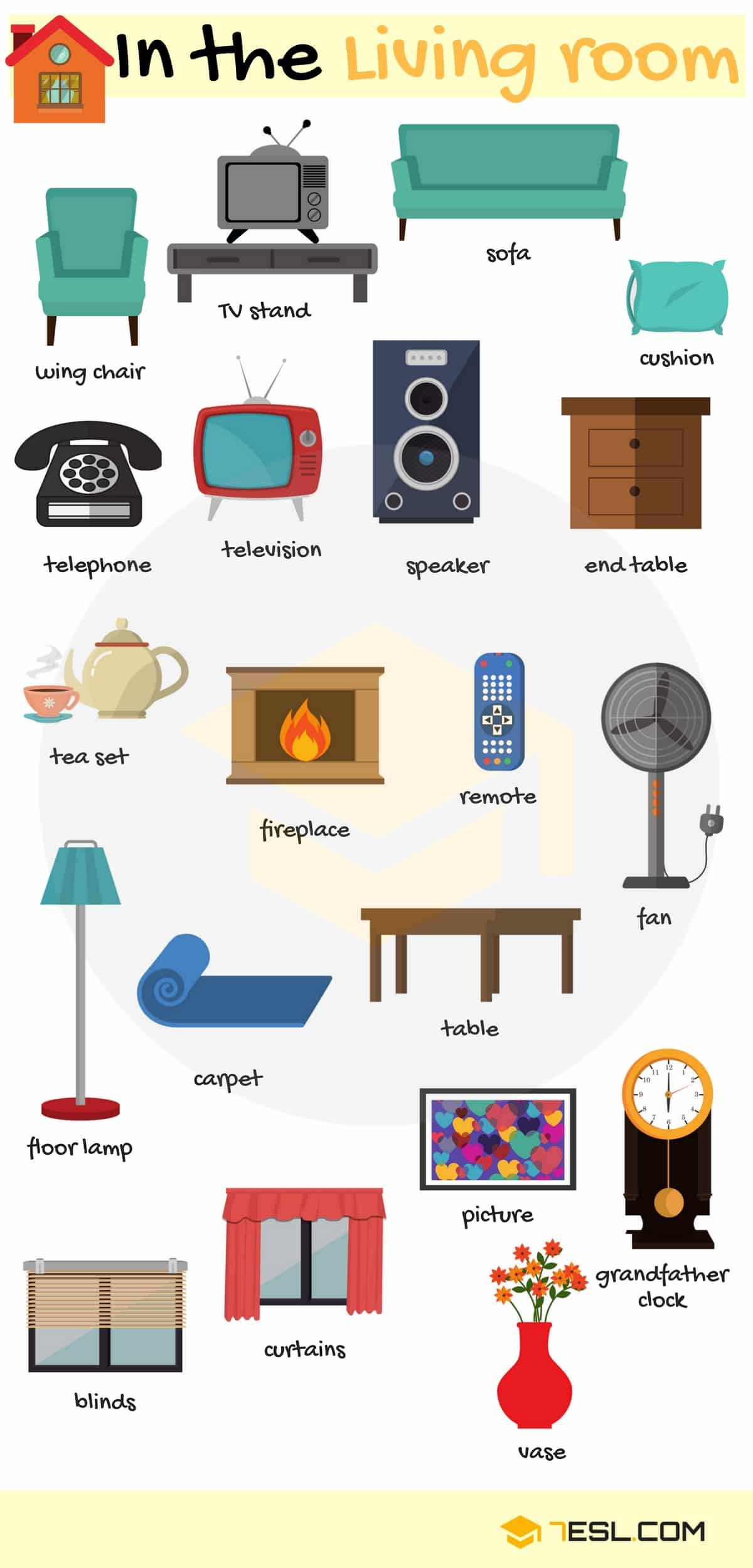 Furniture vocabulary in english rooms in a house 2