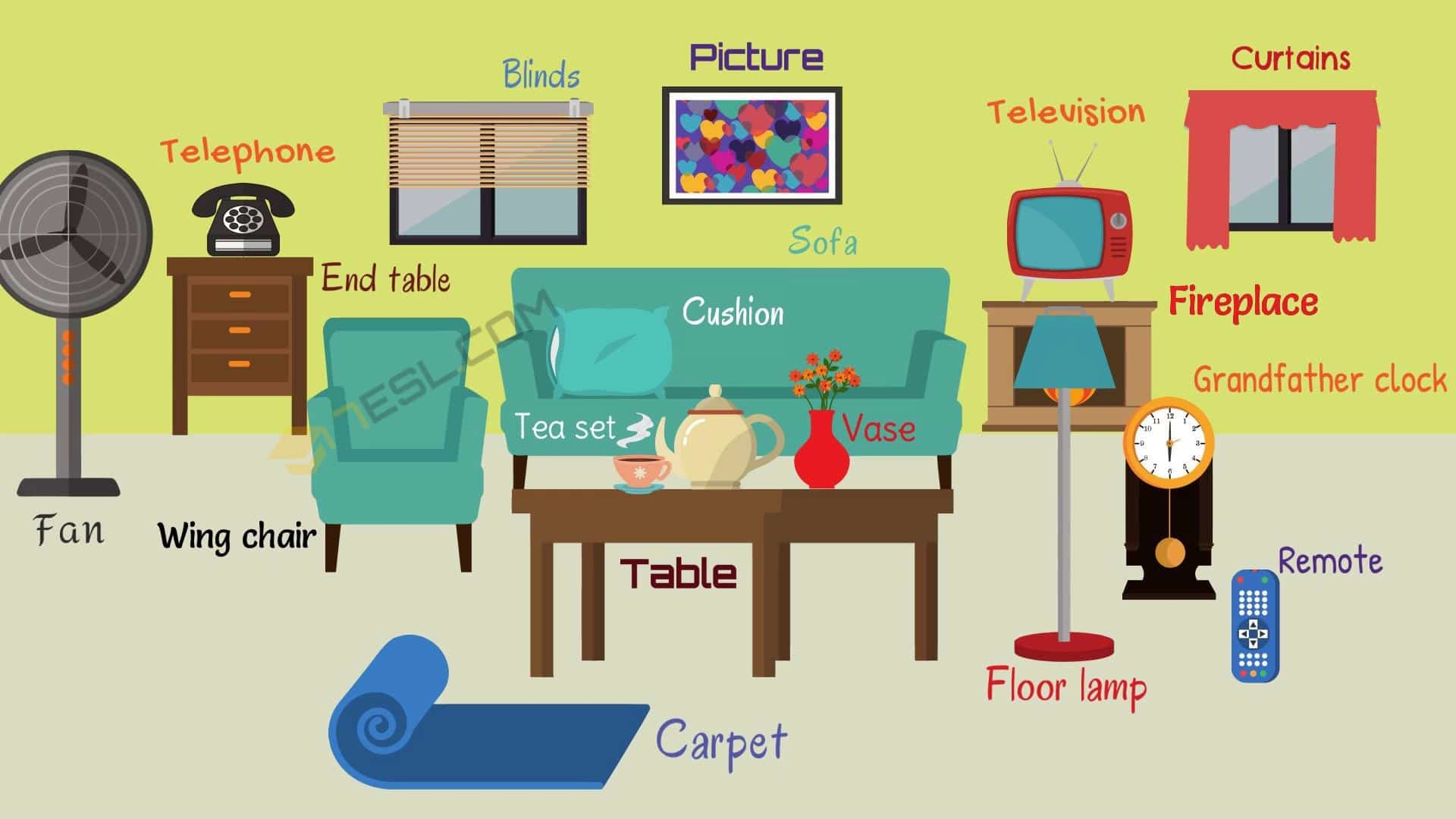 Living Room Furniture Names Of Living Room Objects 7 E S L