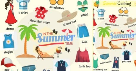 Summer Clothes and Accessories Vocabulary with Pictures 178
