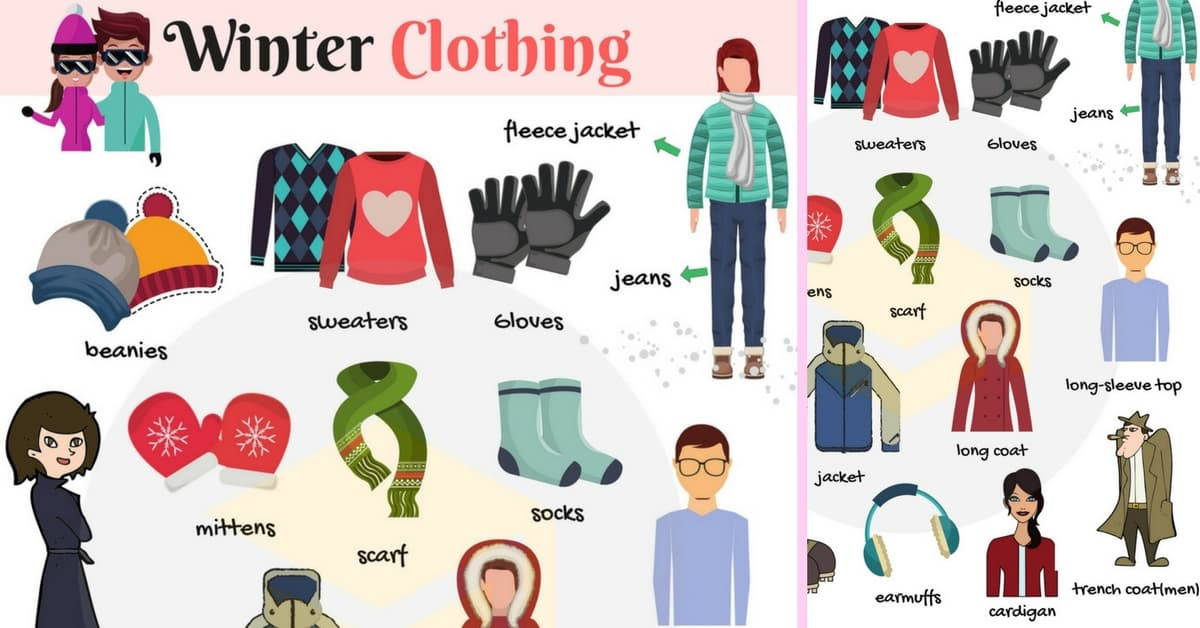 List of Winter Clothes Names with Pictures 1