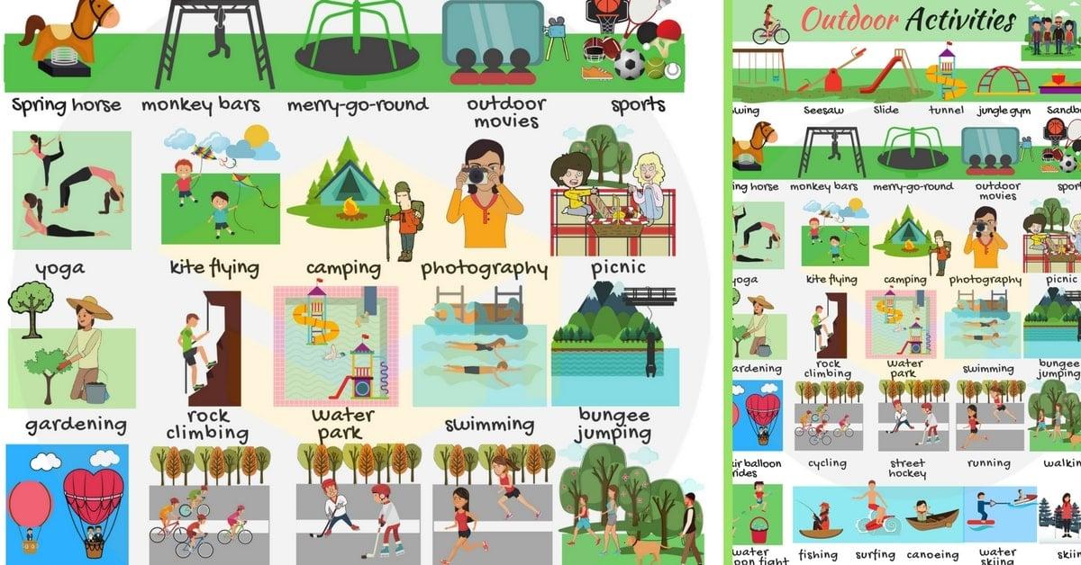 Outdoor Activities Vocabulary | Outdoor Games Names 1