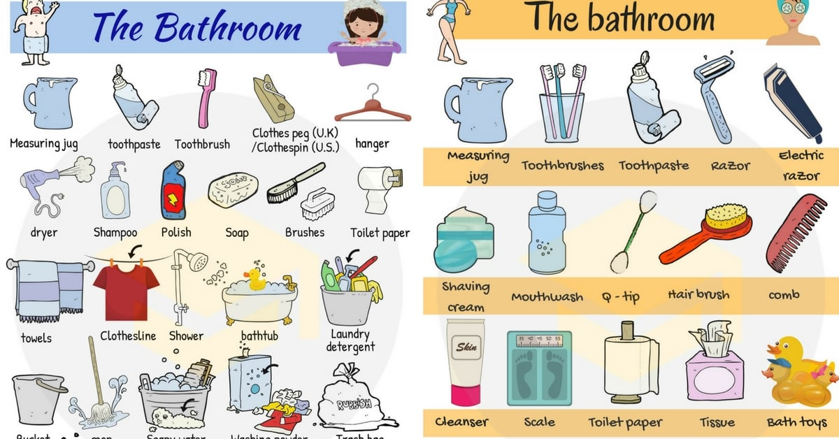 Bathroom Vocabulary in English | In the Bathroom 1
