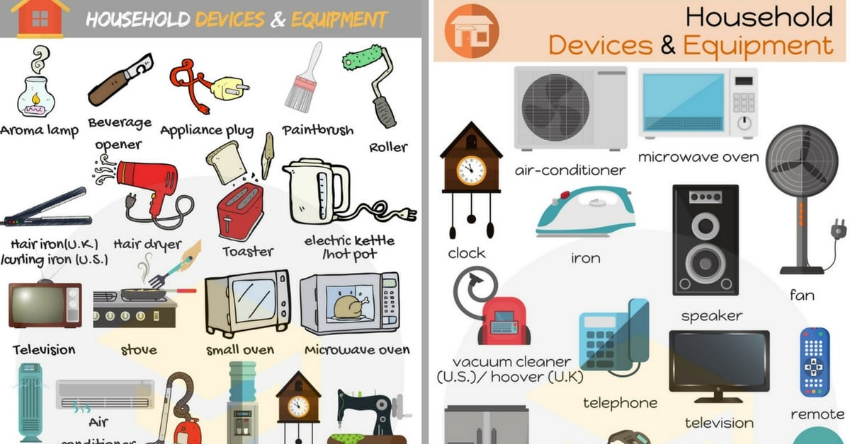 Household devices and equipment vocabulary in english 7 for Gardening tools vocabulary