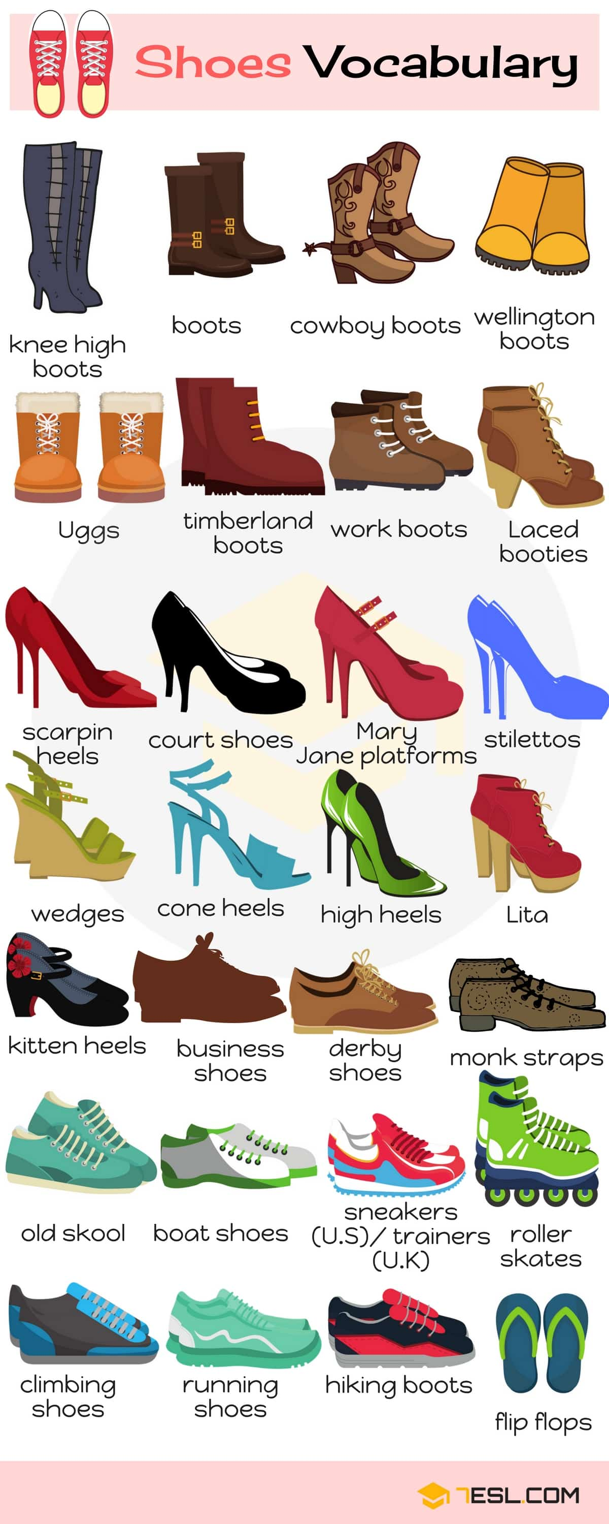 Shoe Names: Shoes Vocabulary Words with Pictures