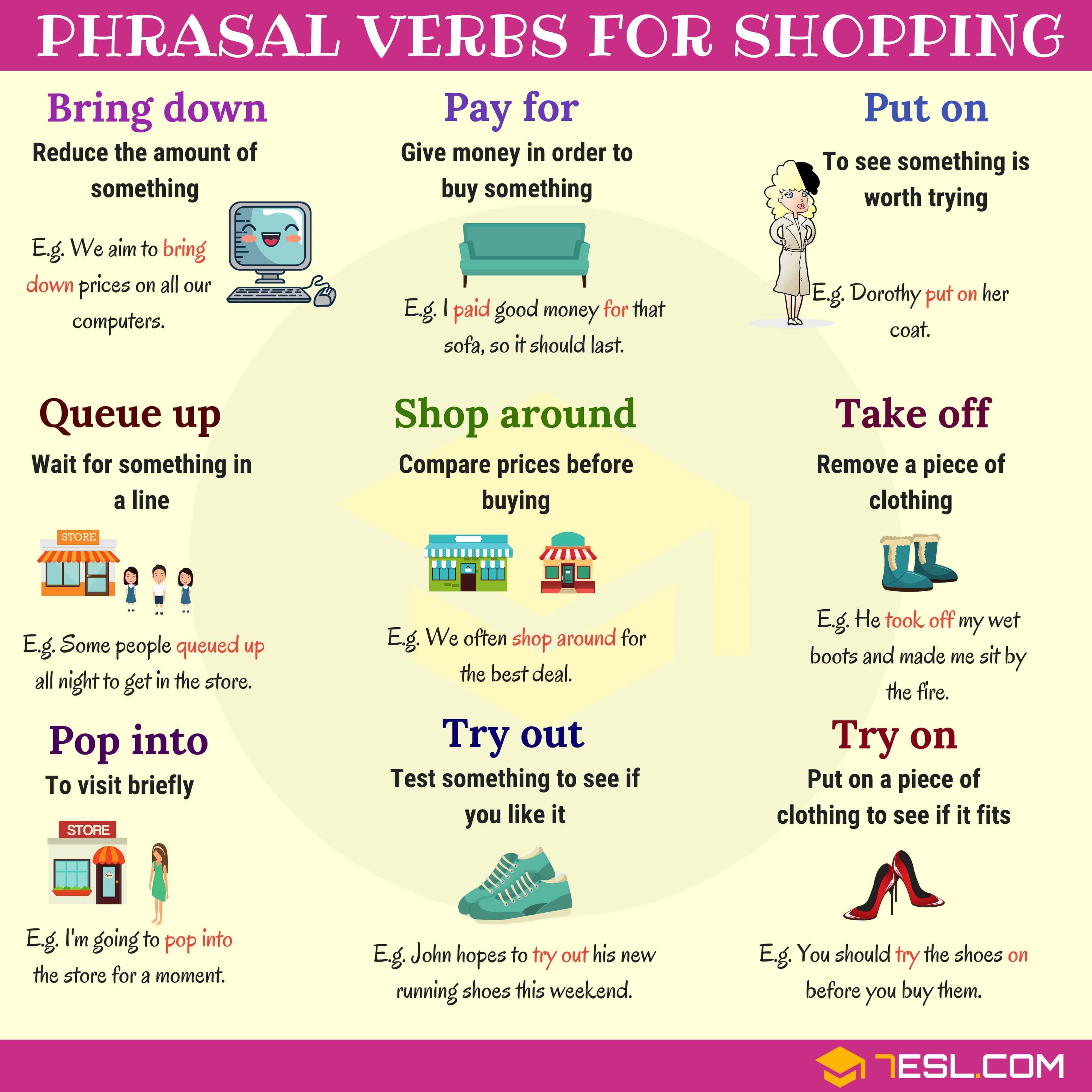 Phrasal Verbs for Shopping