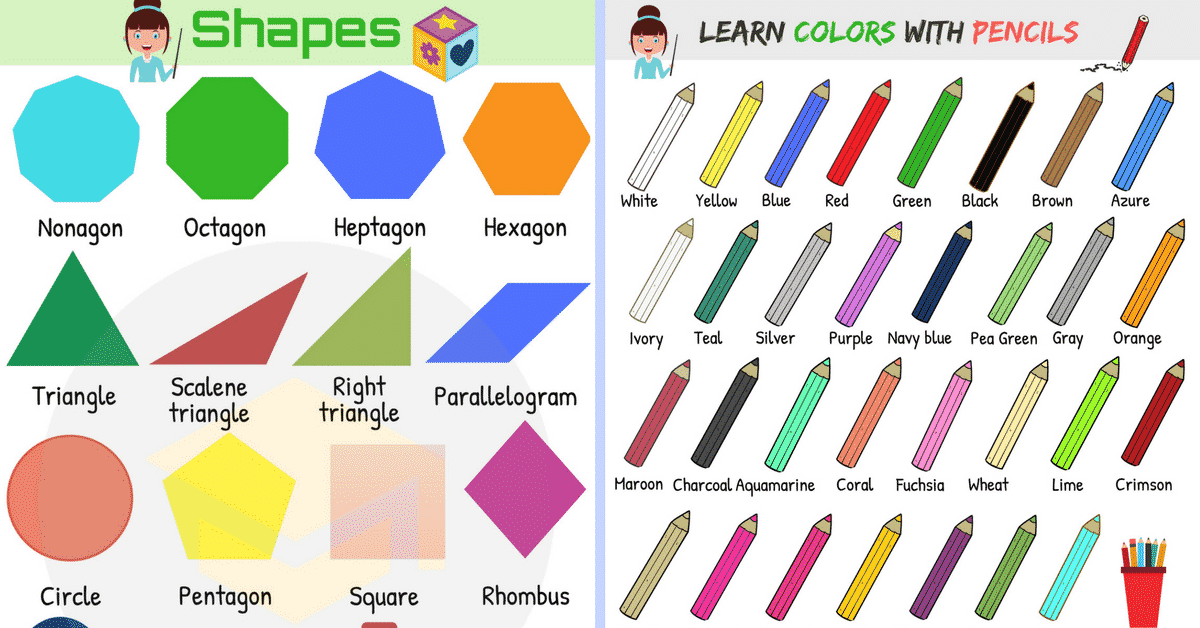 Colours and Shapes Vocabulary: List of Colours & Shapes with Pictures 1
