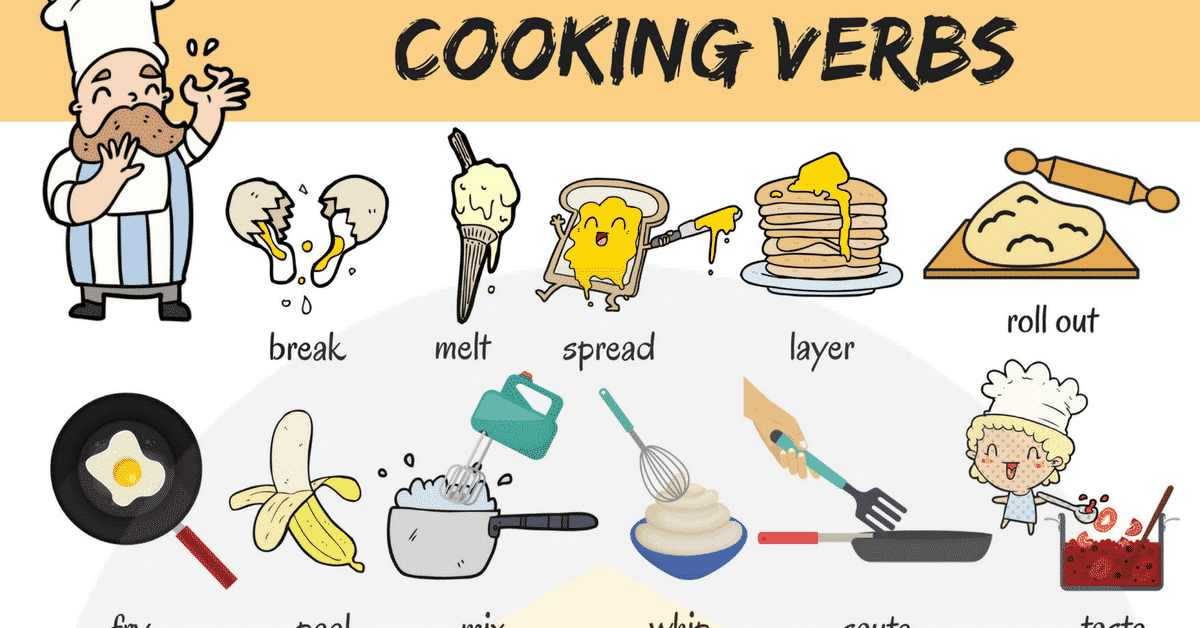 Cooking Verbs: List Of 20+ Useful Cooking Words In English - 7 E S L