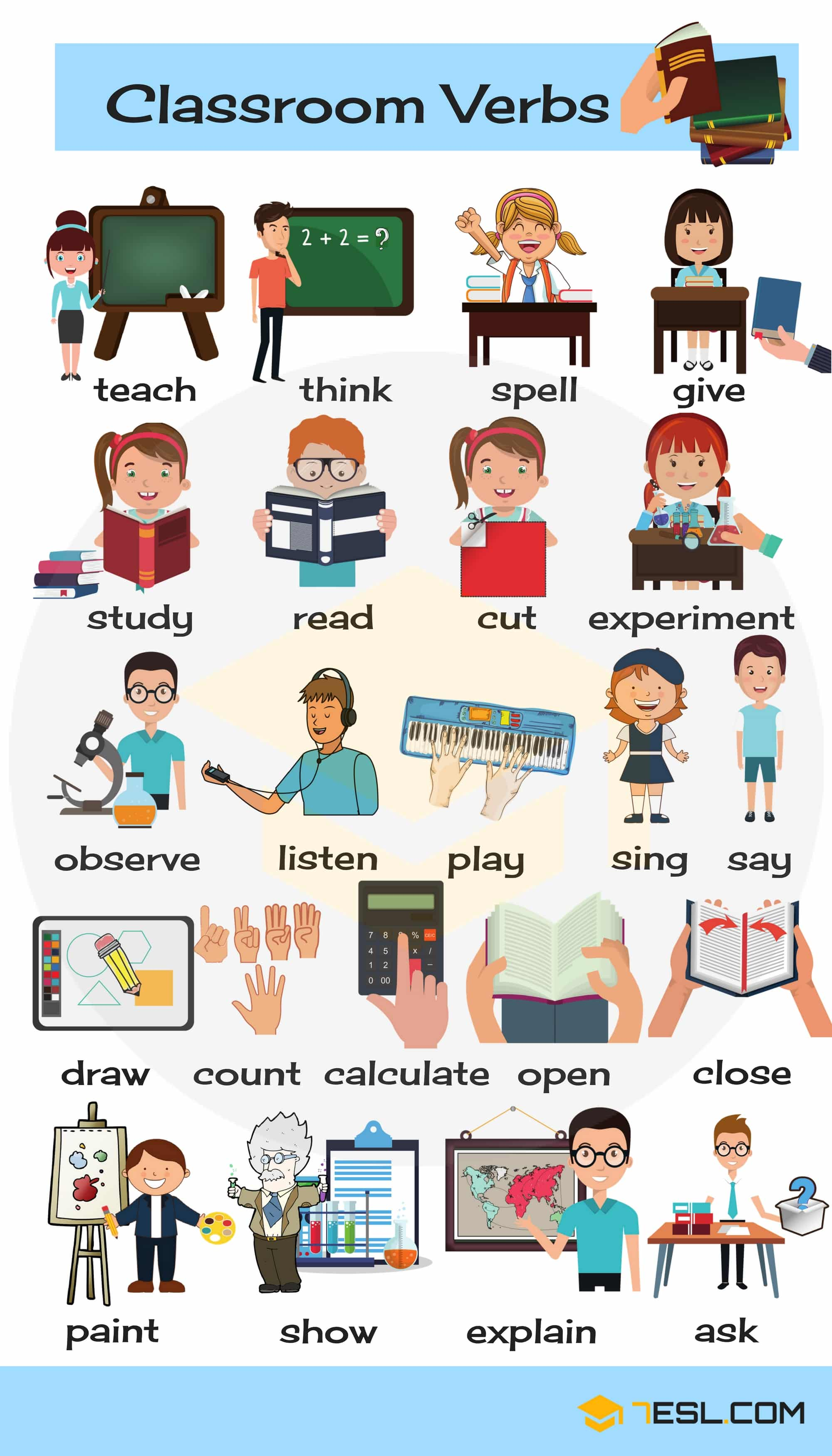 Classroom Verbs: List of School Verbs with Pictures