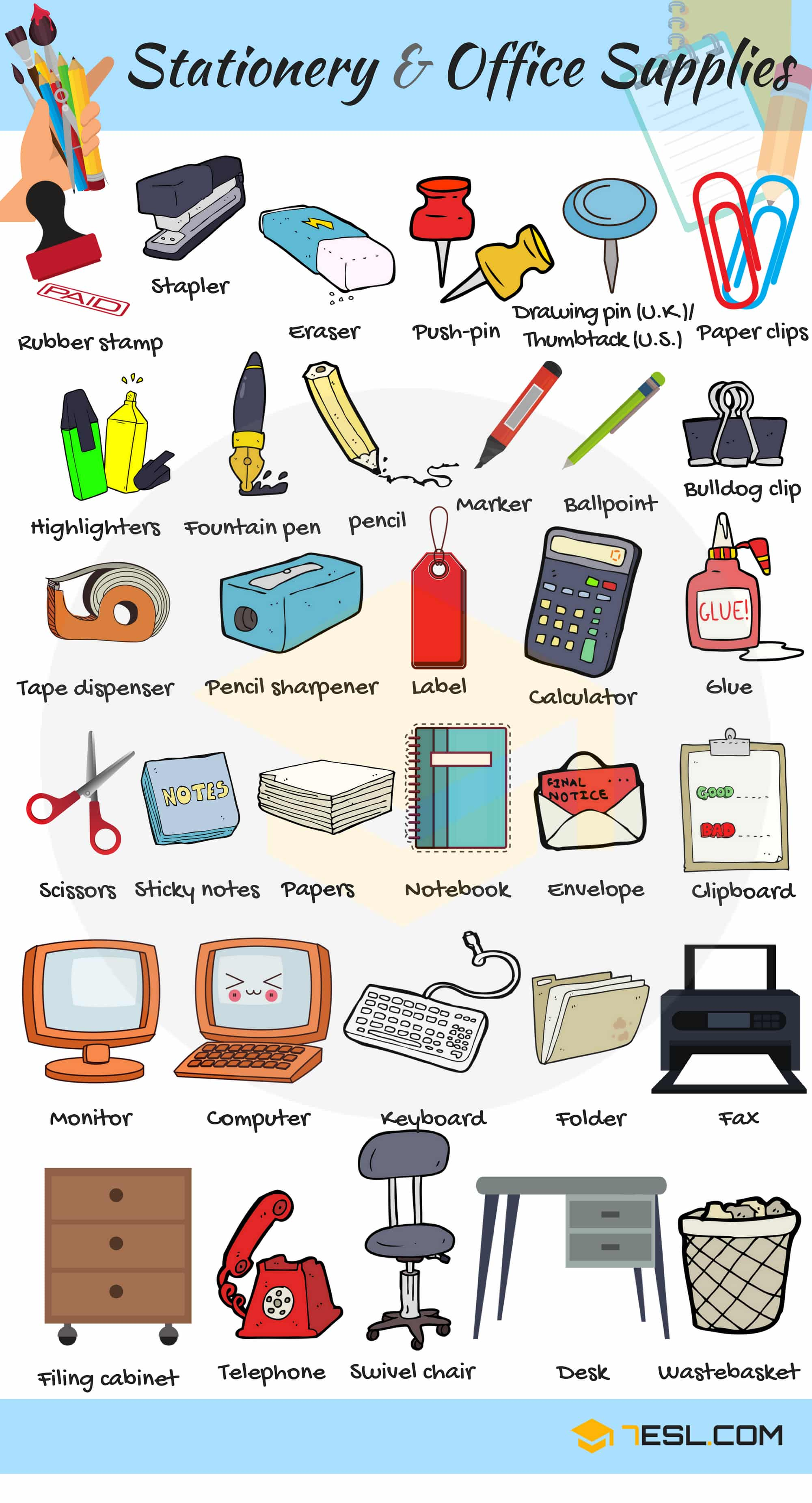 Stationery and Office Supplies Vocabulary | Picture