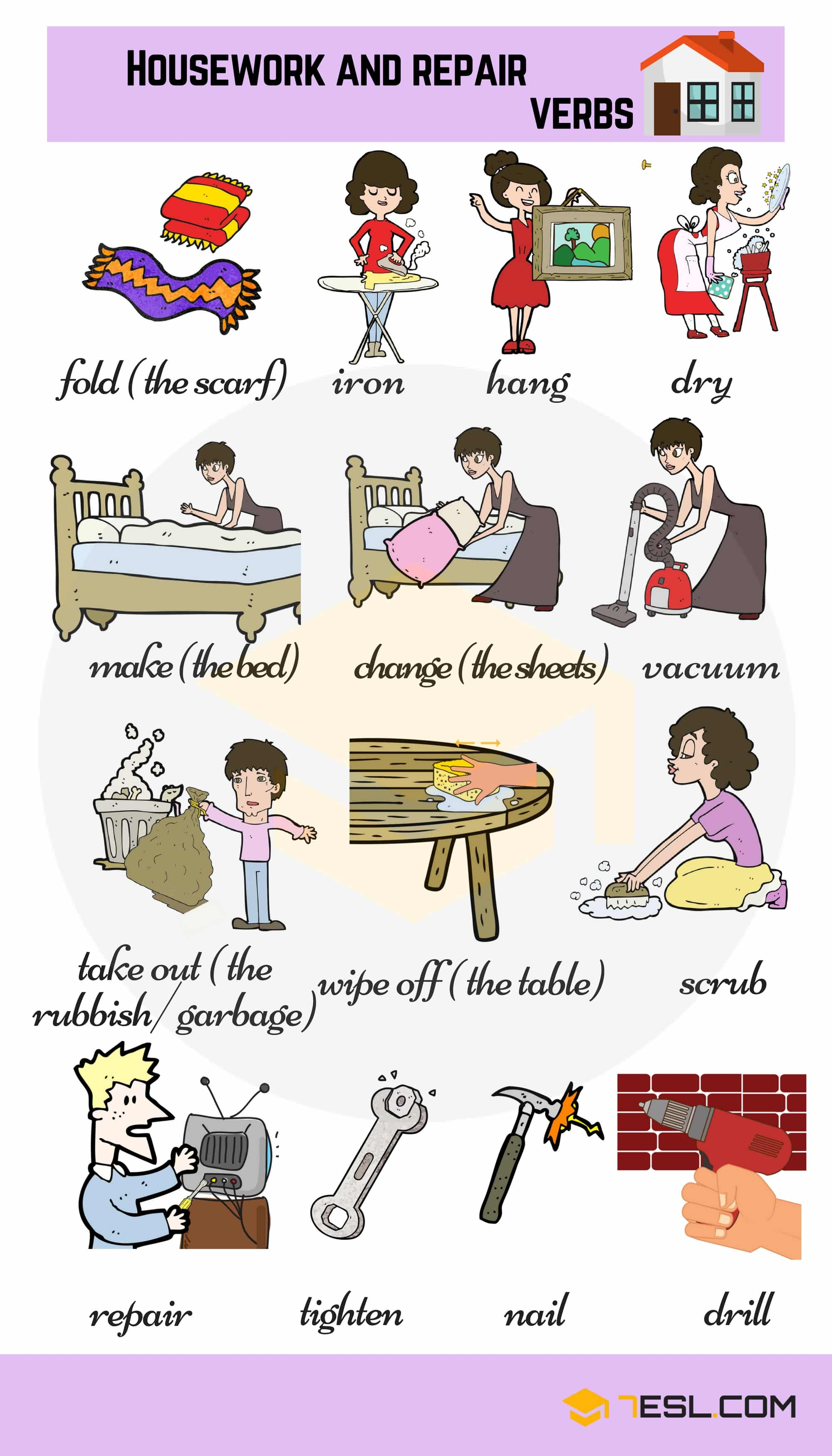 Housework and Repair Verbs | Household Chores Vocabulary