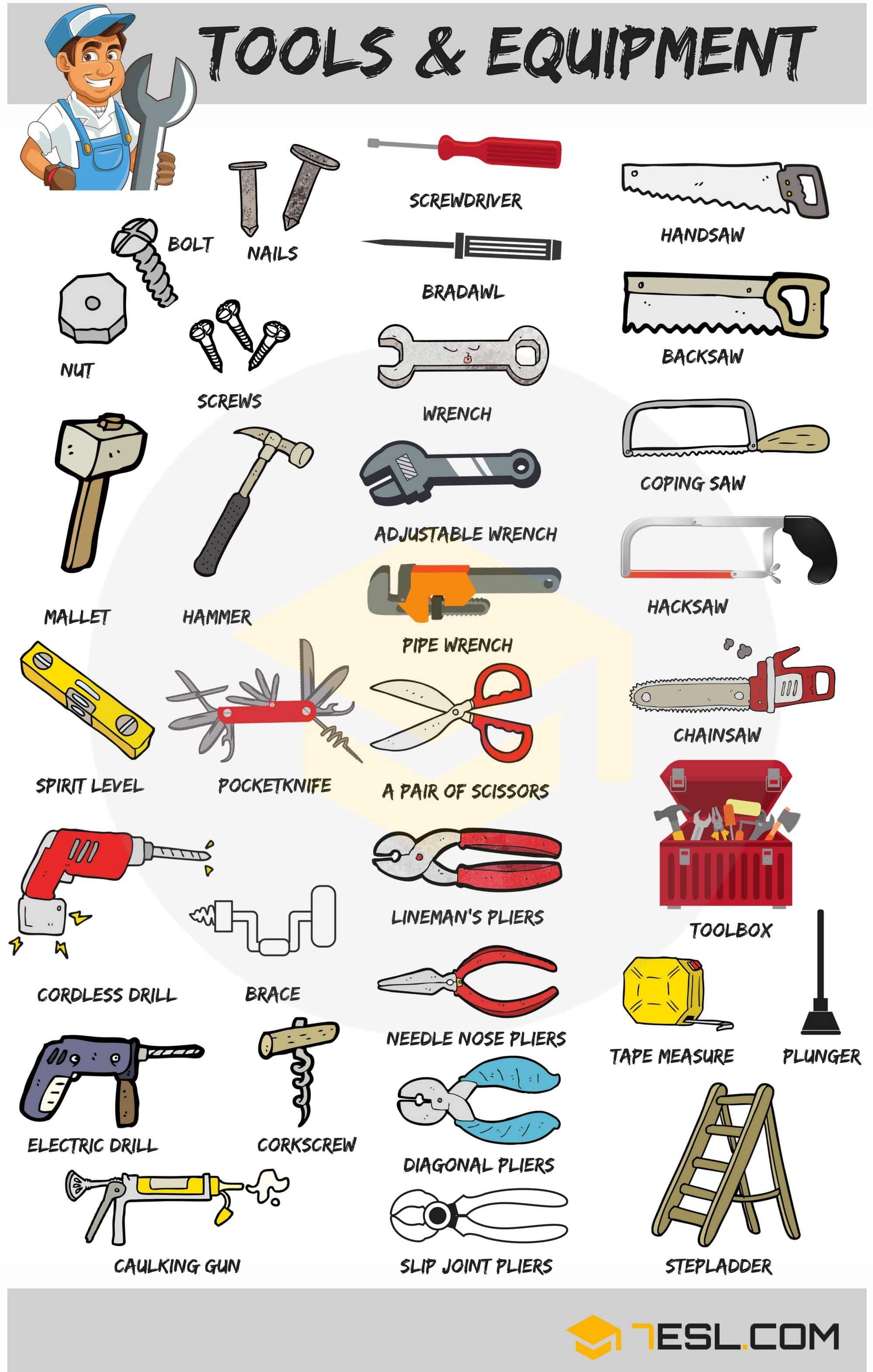 Tools Vocabulary in English | 30+ Tools with Names and Pictures 33