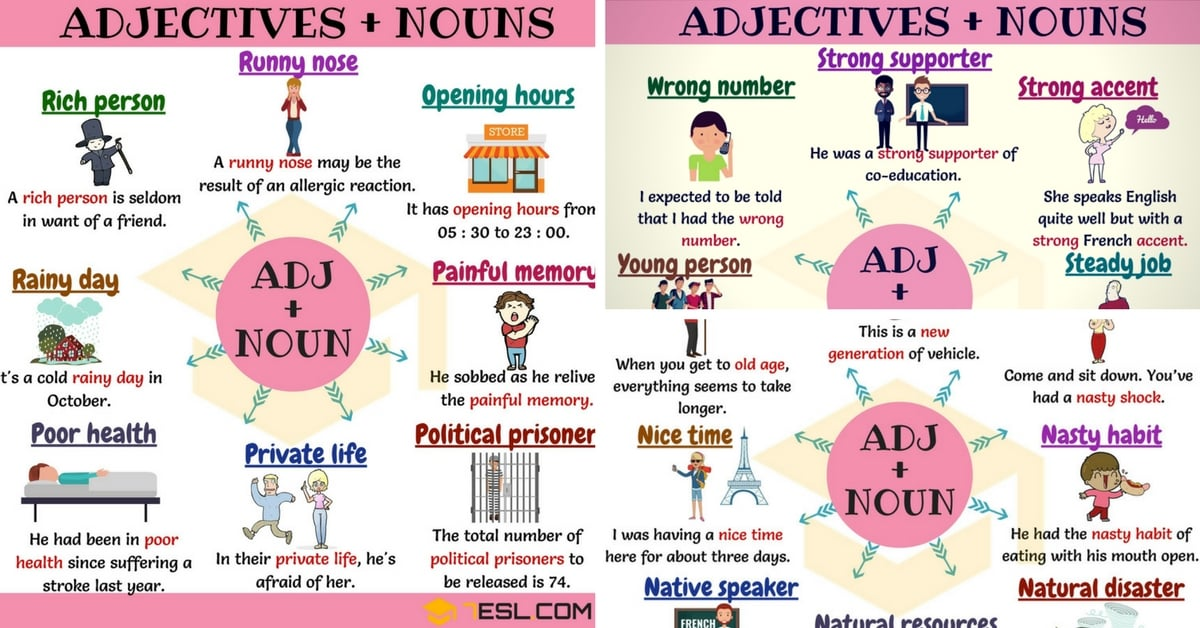 300+ Useful Adjective Noun Combinations from A-Z - 7 E S L
