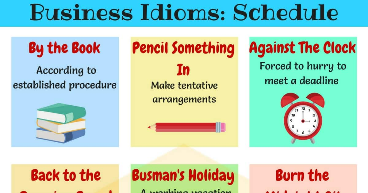 20  phrases  u0026 idioms about schedules and planning