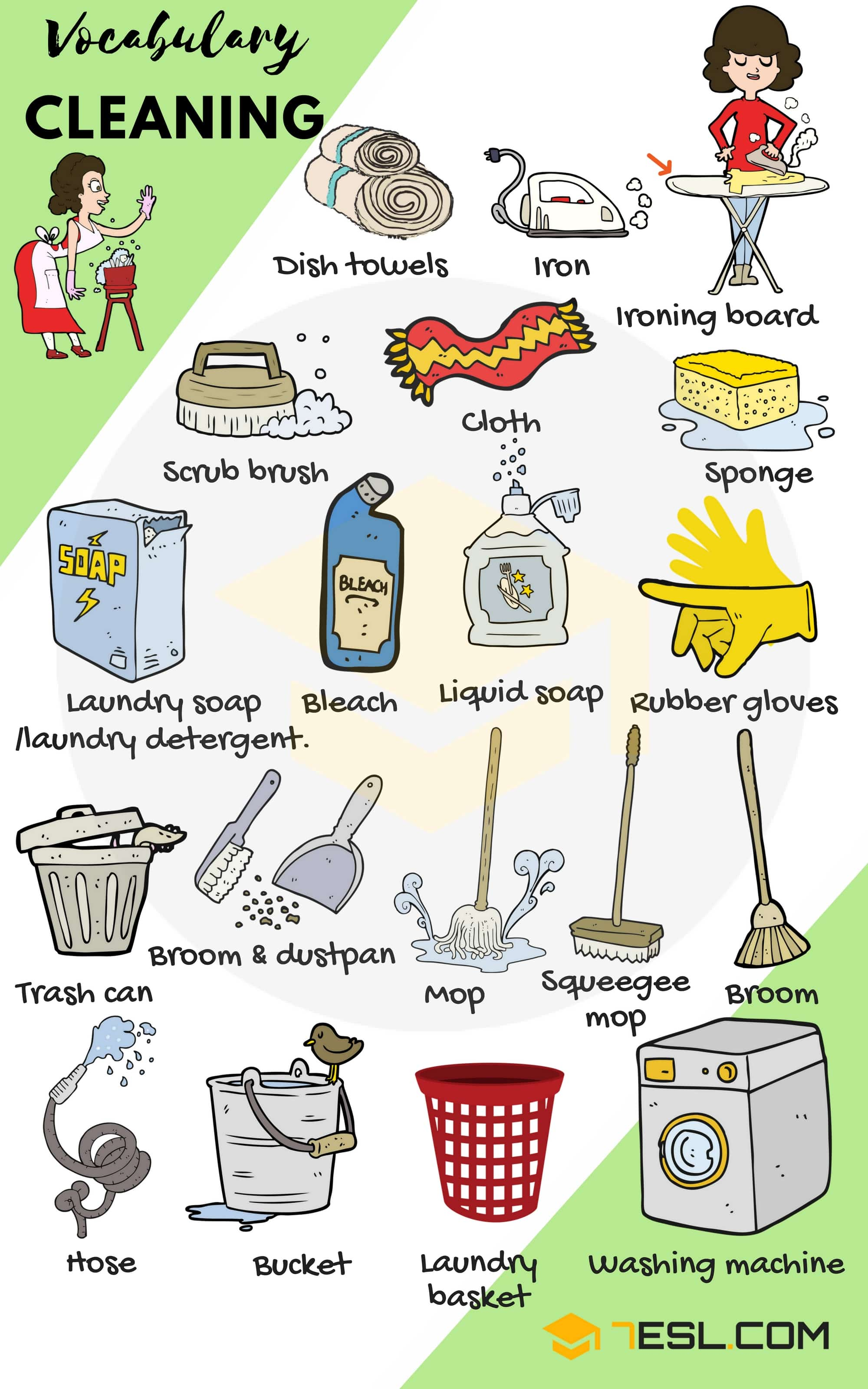Cleaning Supplies: List of House Cleaning & Laundry Vocabulary