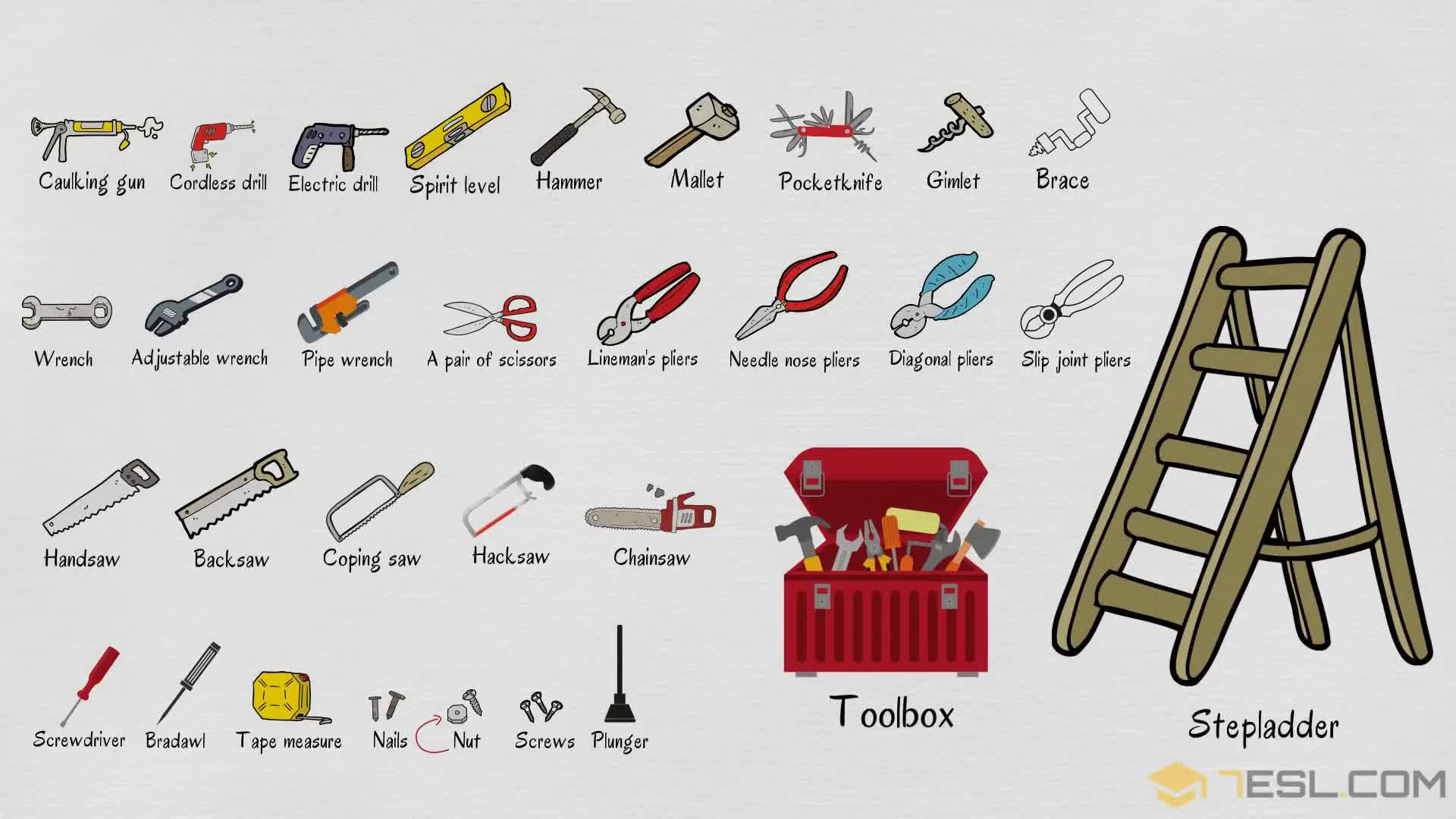 Tools Names: Useful List of Tools in English with Pictures