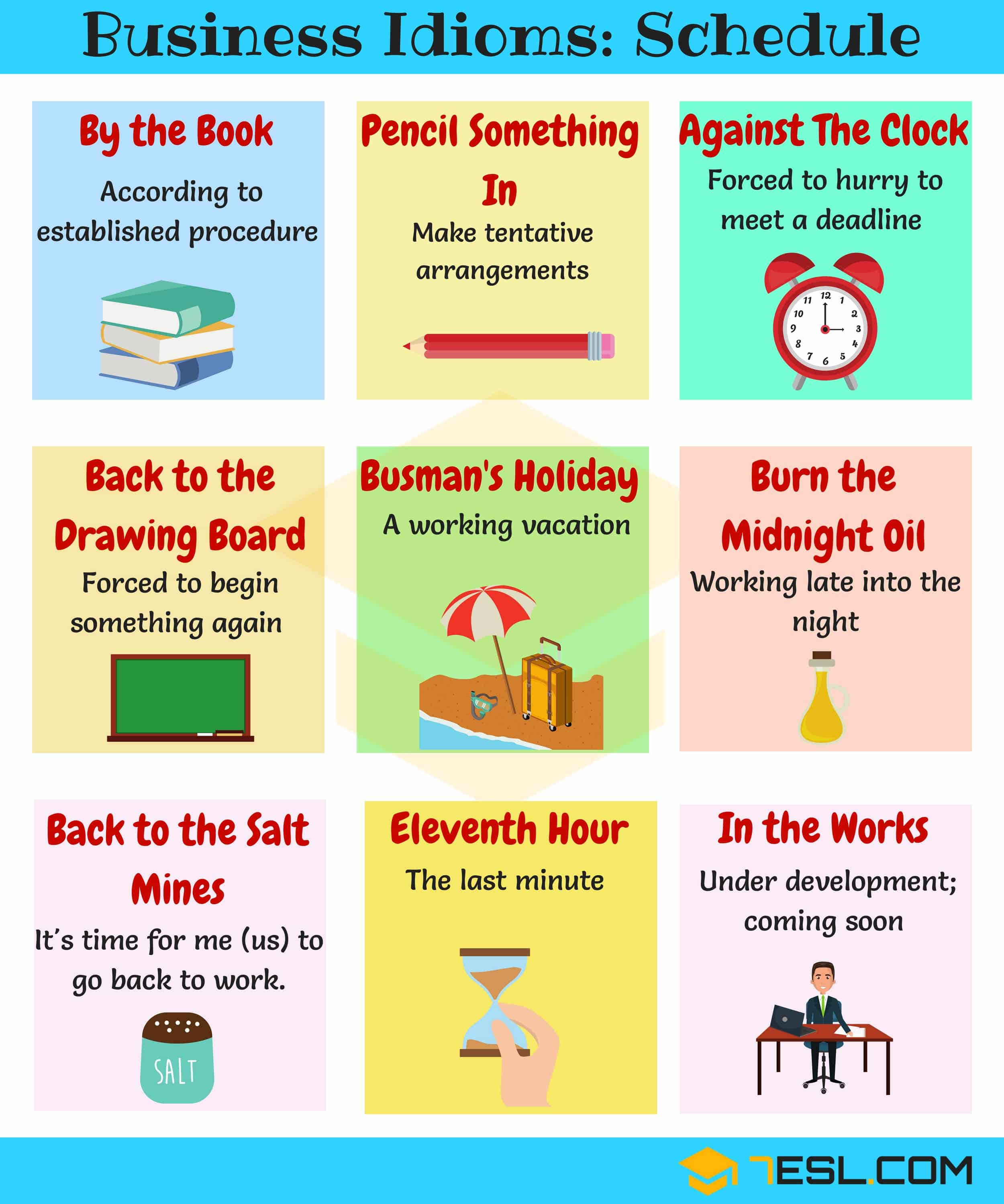 Common business expressions and idioms for business scheduling | Business Idioms Image 7