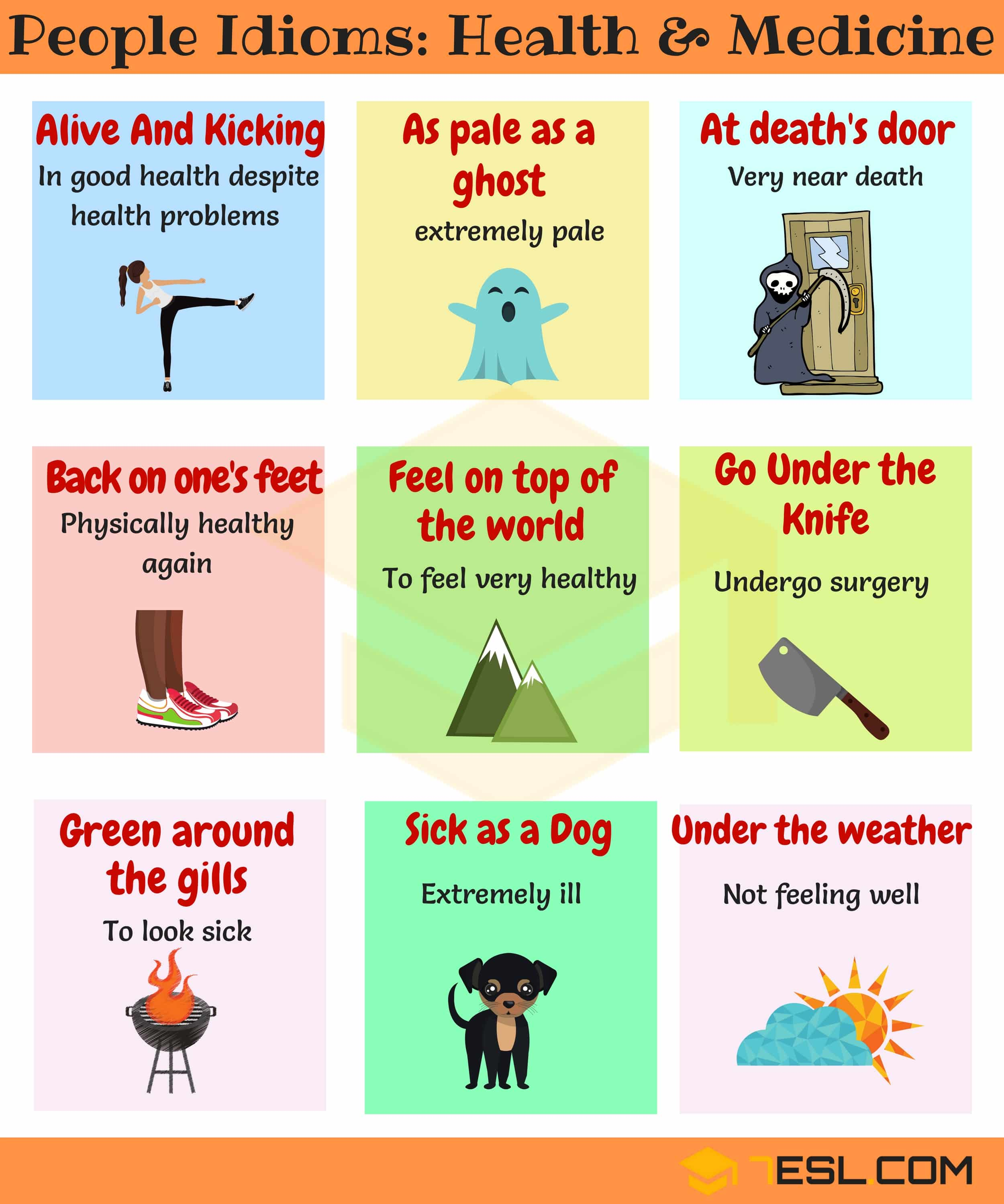 Health Idioms 30 Useful Health And Medicine Idioms 7 E S L