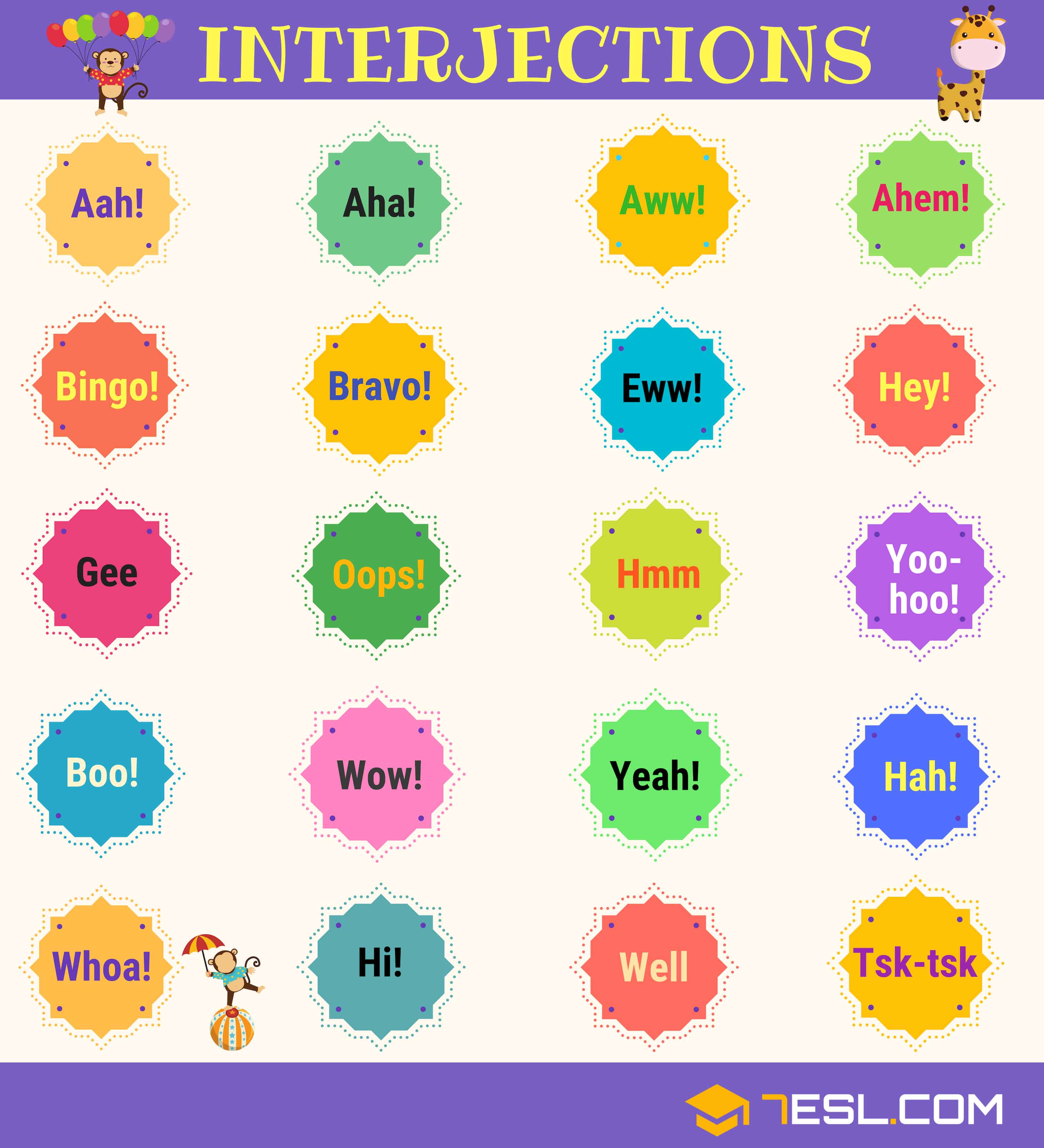 List of 60+ Interjections with Definition & Useful Examples - 7 E S L