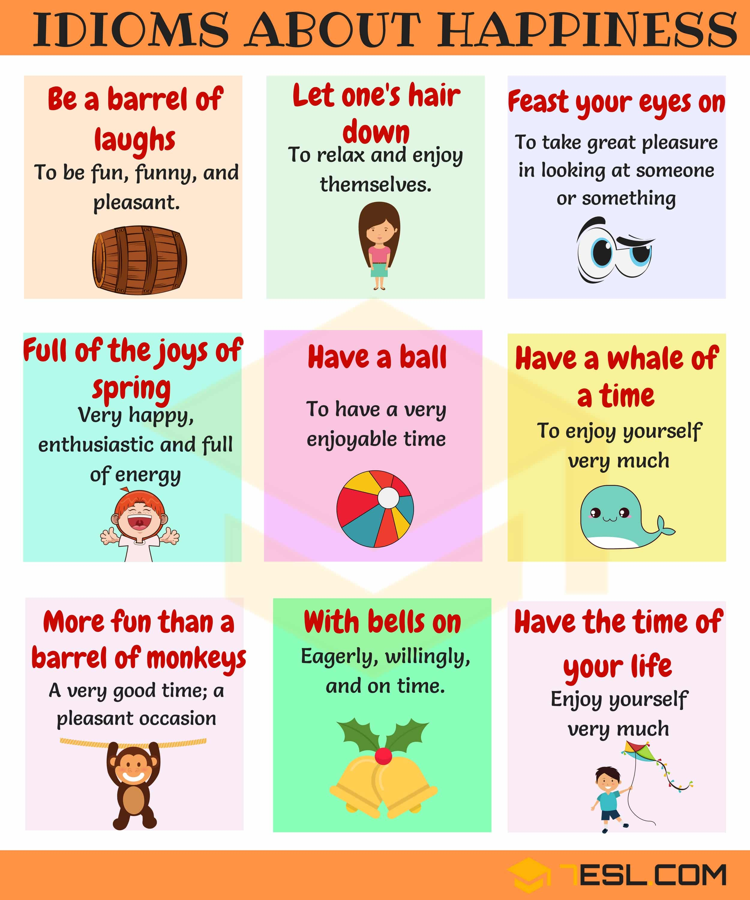 idioms to express Happiness