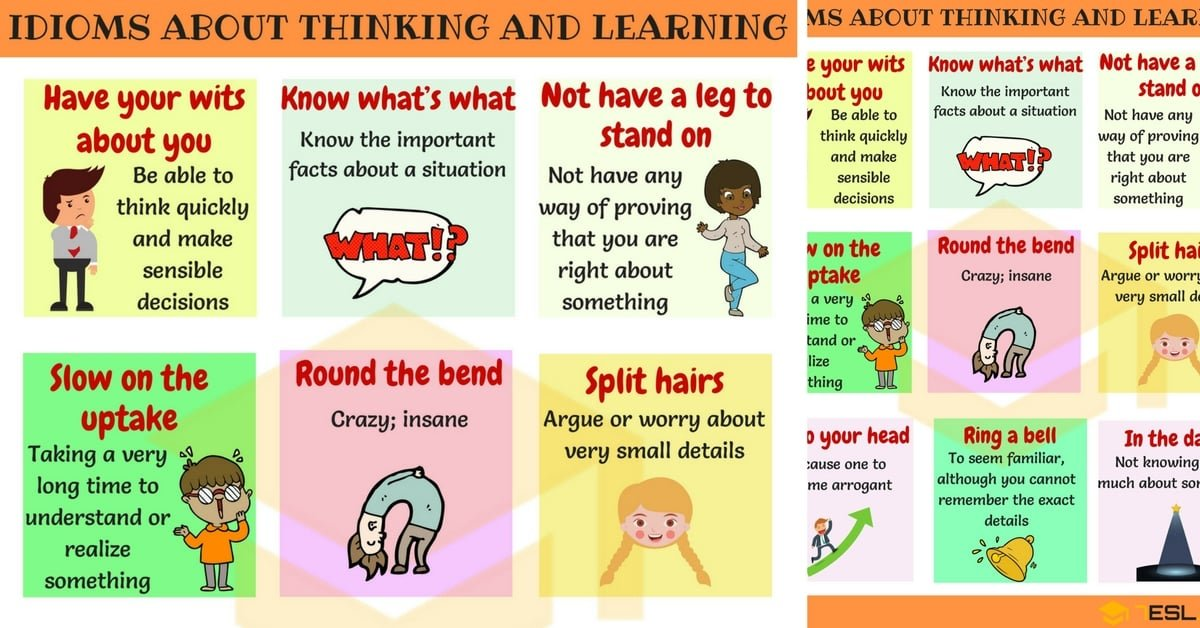 Common Idioms About Thinking And Learning In English 7 E S L