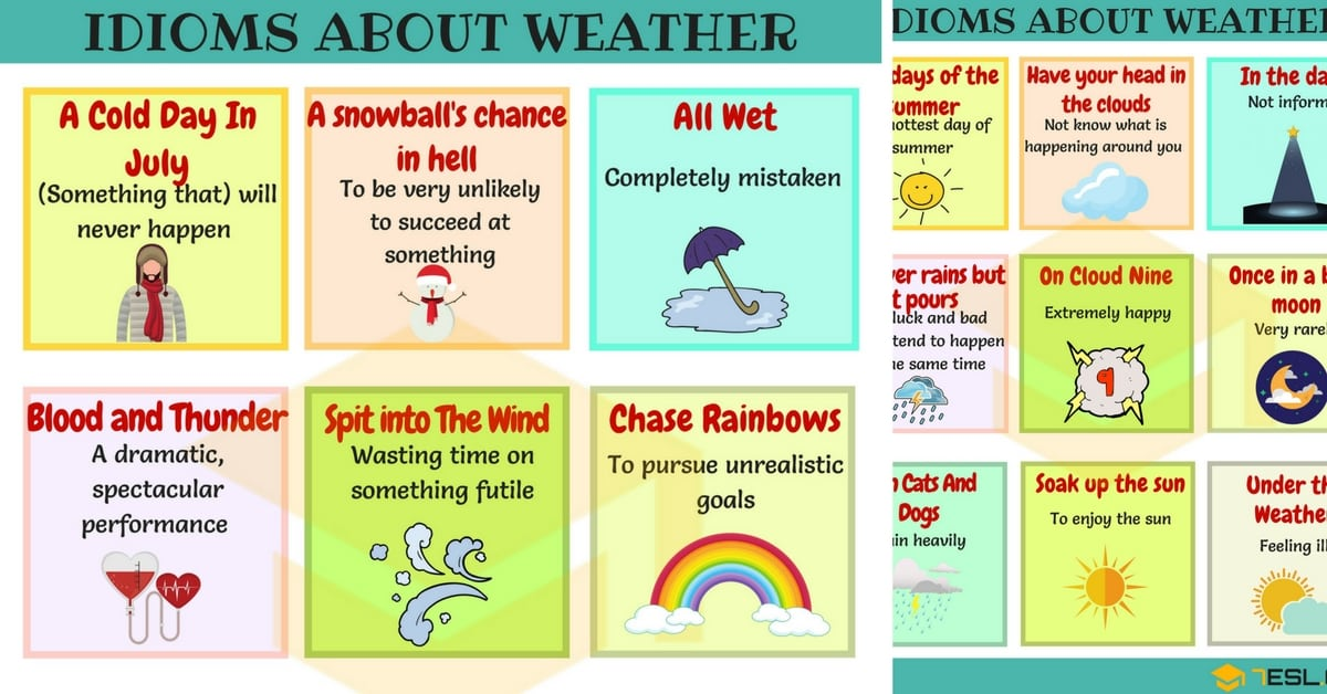 45useful Weather Idioms With Meaning And Examples 7 E S L