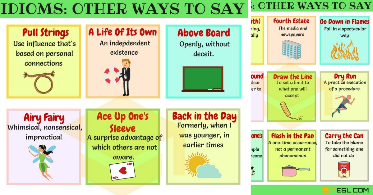 List Of 50 Common English Idioms Other Ways To Say 7 E S L