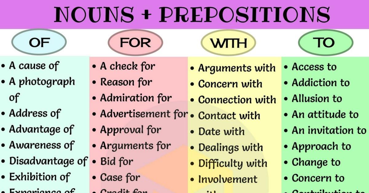 Common Noun & Preposition Collocations in English