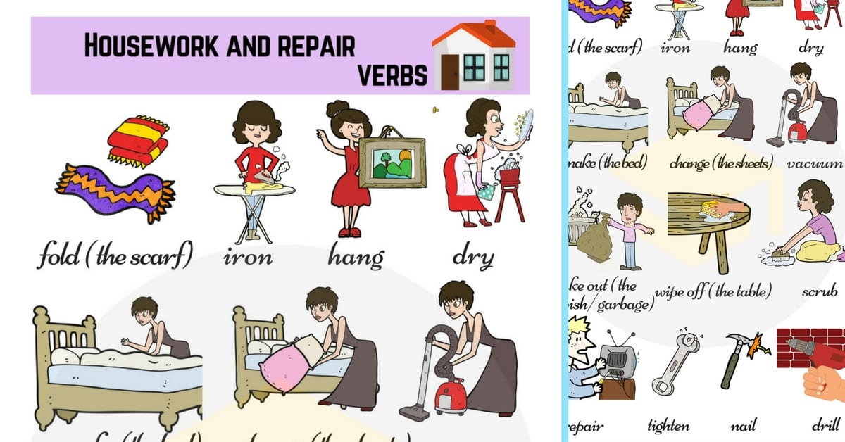 Housework and Repair Verbs | Household Chores Vocabulary 227