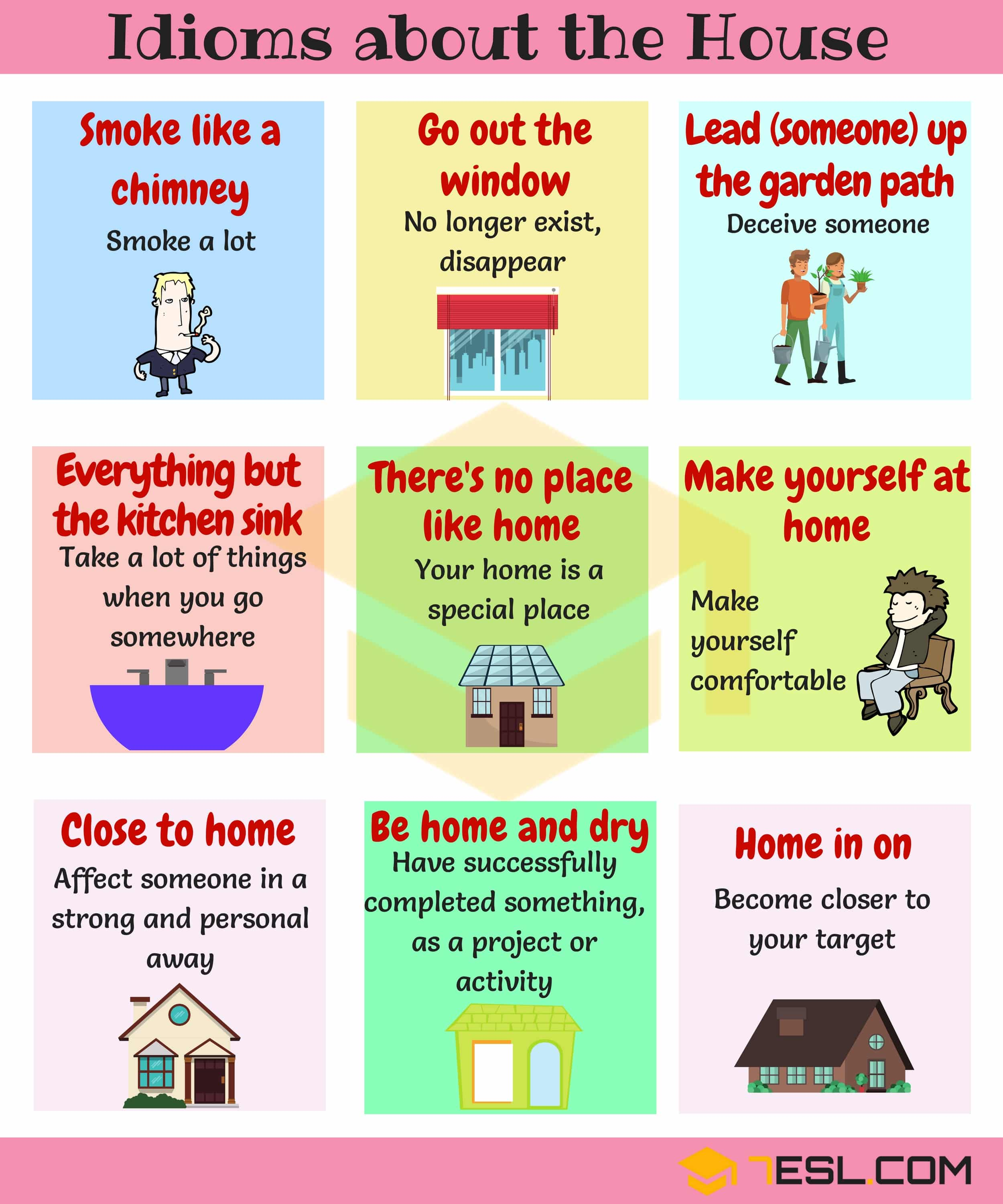 Home Idioms: 28 Useful Idioms About The House And Home