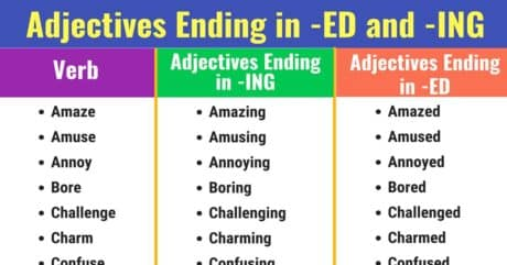 Adjectives Ending in -ED and -ING: List & Examples 16