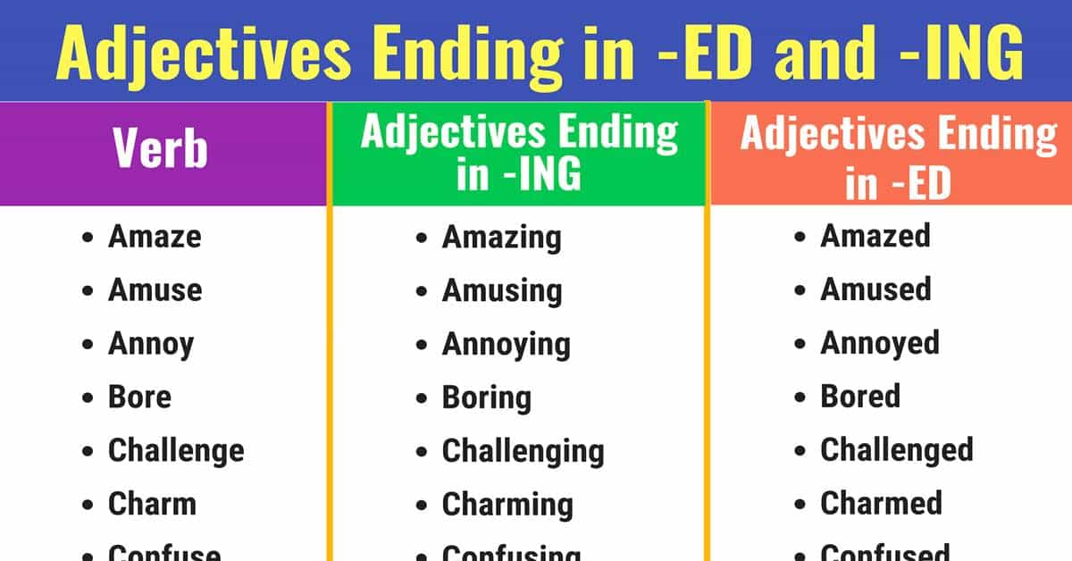 Adjectives Ending in -ED and -ING: List & Examples 1