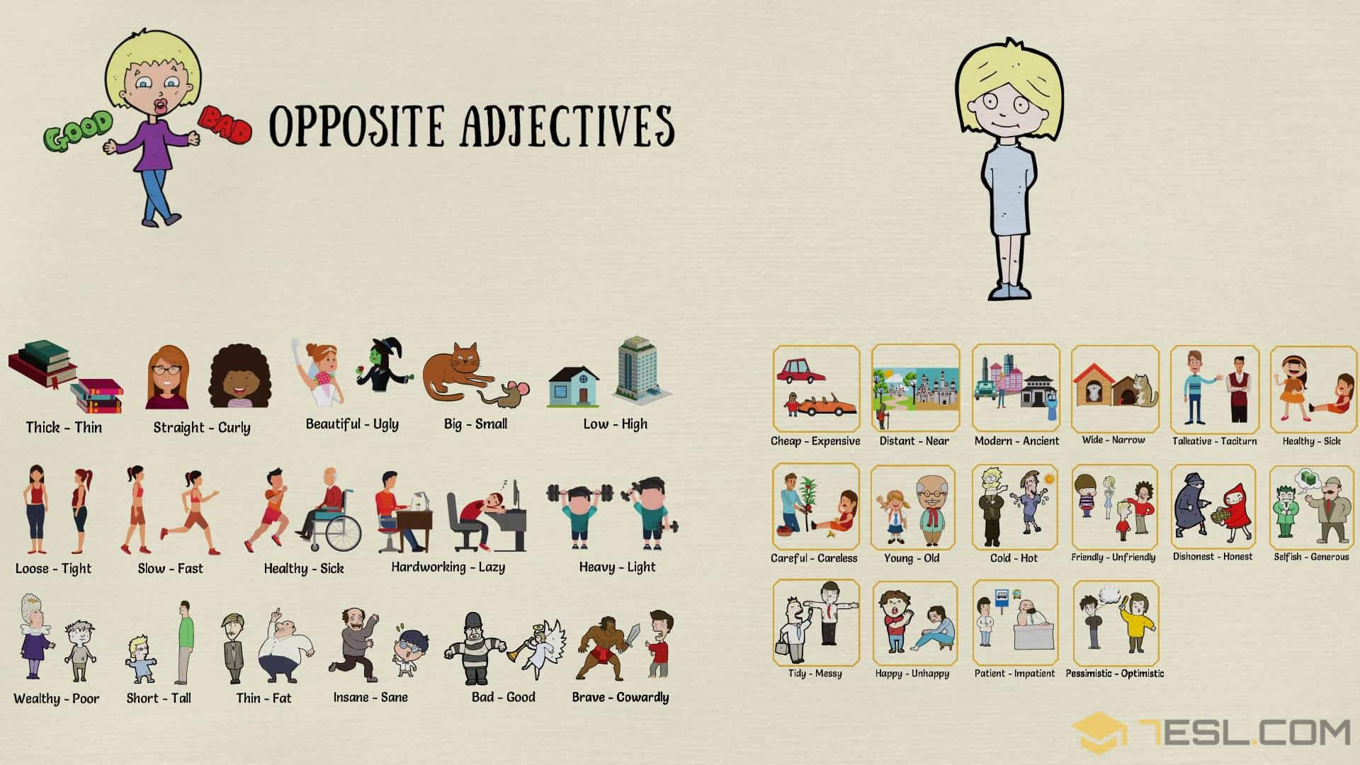 Opposite Adjectives: List of Opposites of Adjectives with Pictures