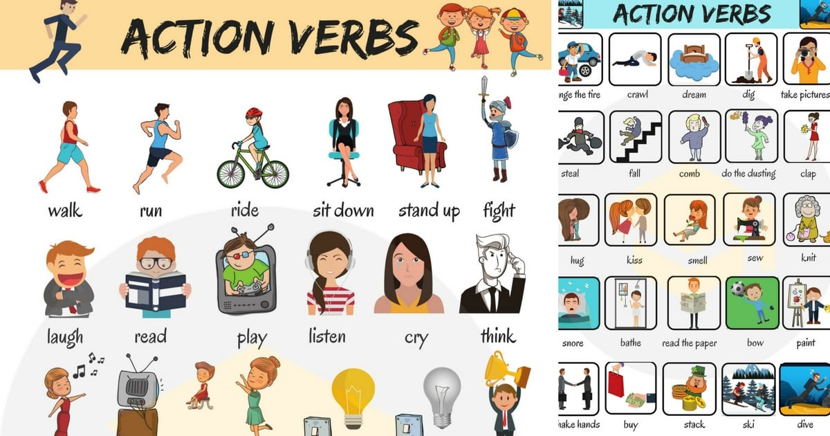 Preposition In Learn In Marathi All Complate: Action Verbs: List Of 50 Common Action Verbs With Pictures