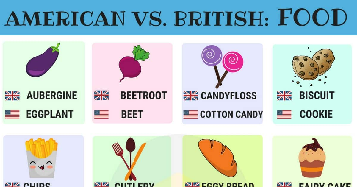 50+ Differences Between British vs American Food Names 13
